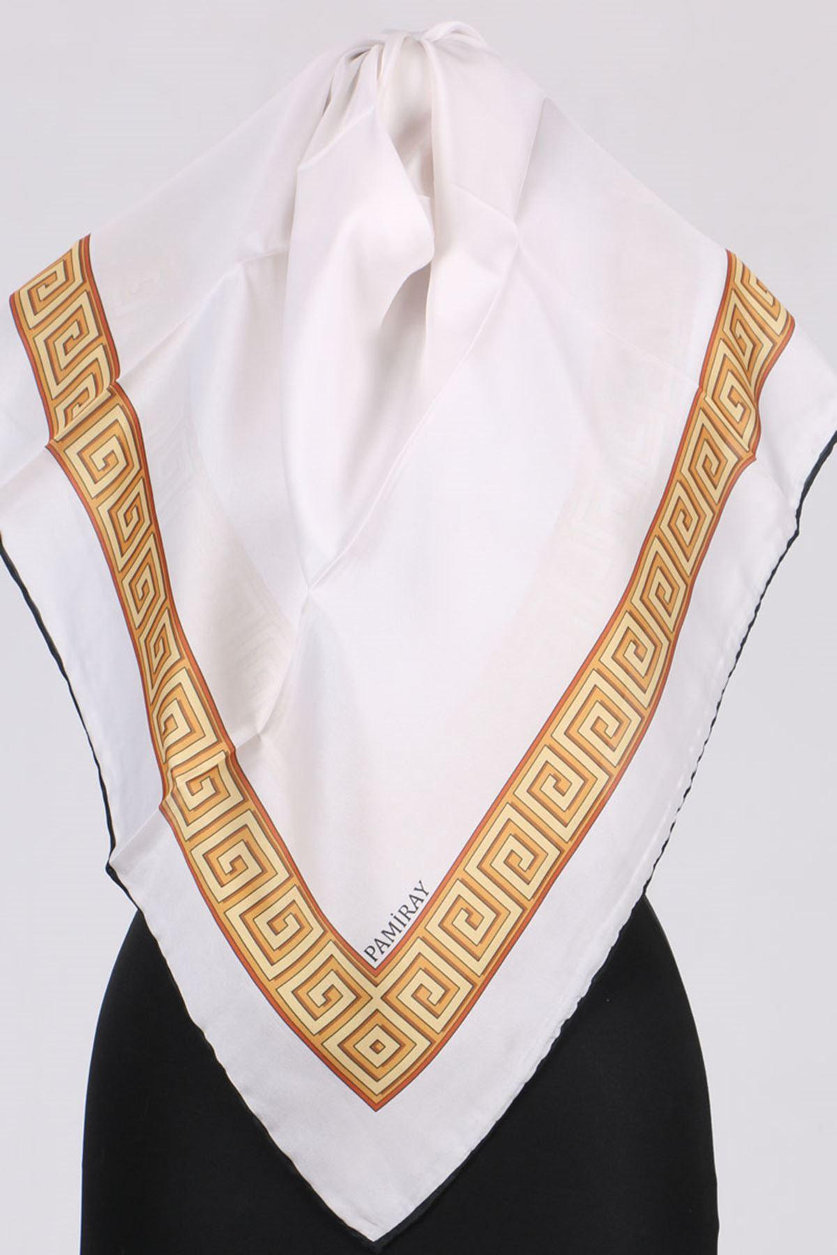 17152 İpeksi Twill Eşarp - Ekru-Sarı