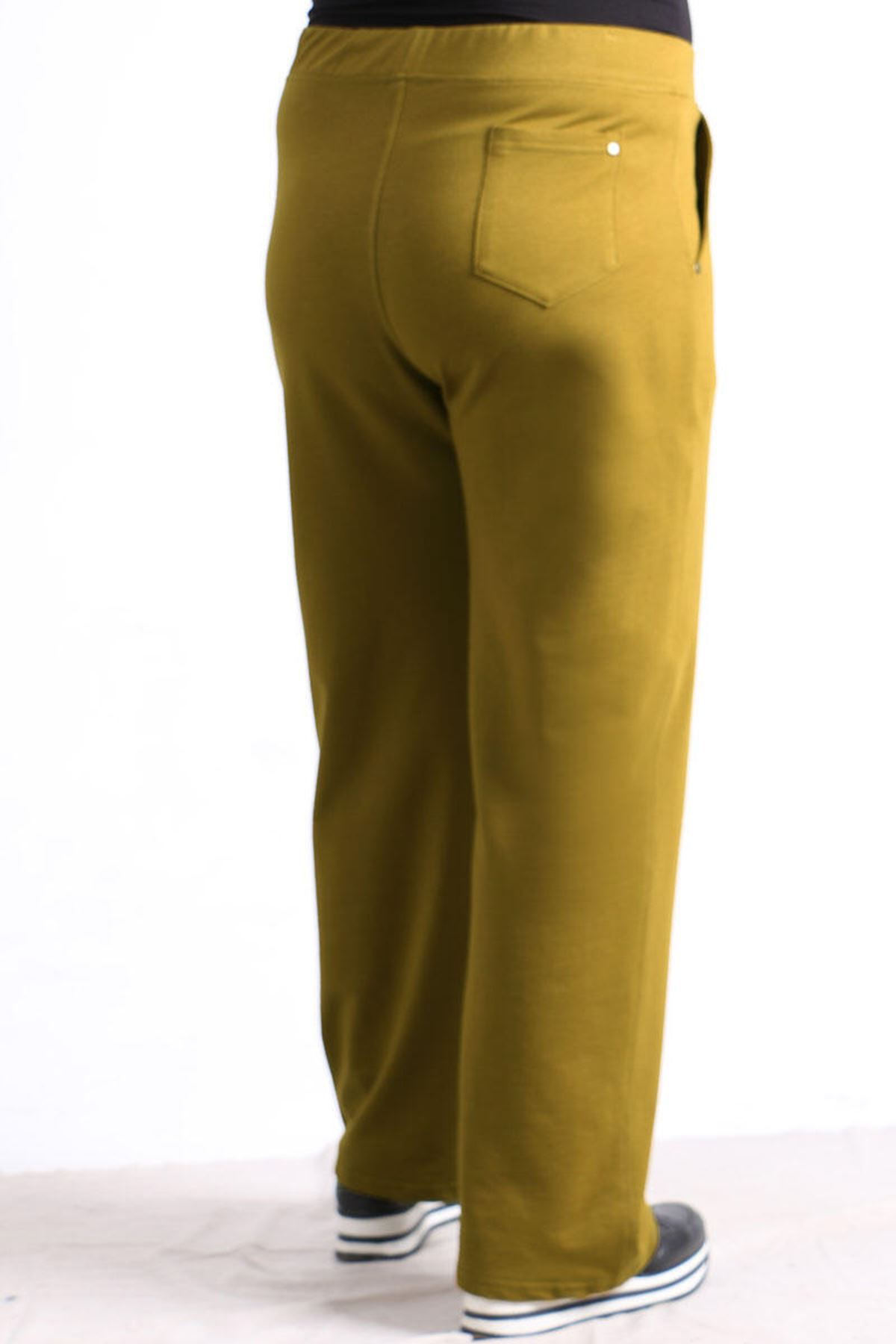 9506 Plus Size Sweatpants with Pocket - Olive Green