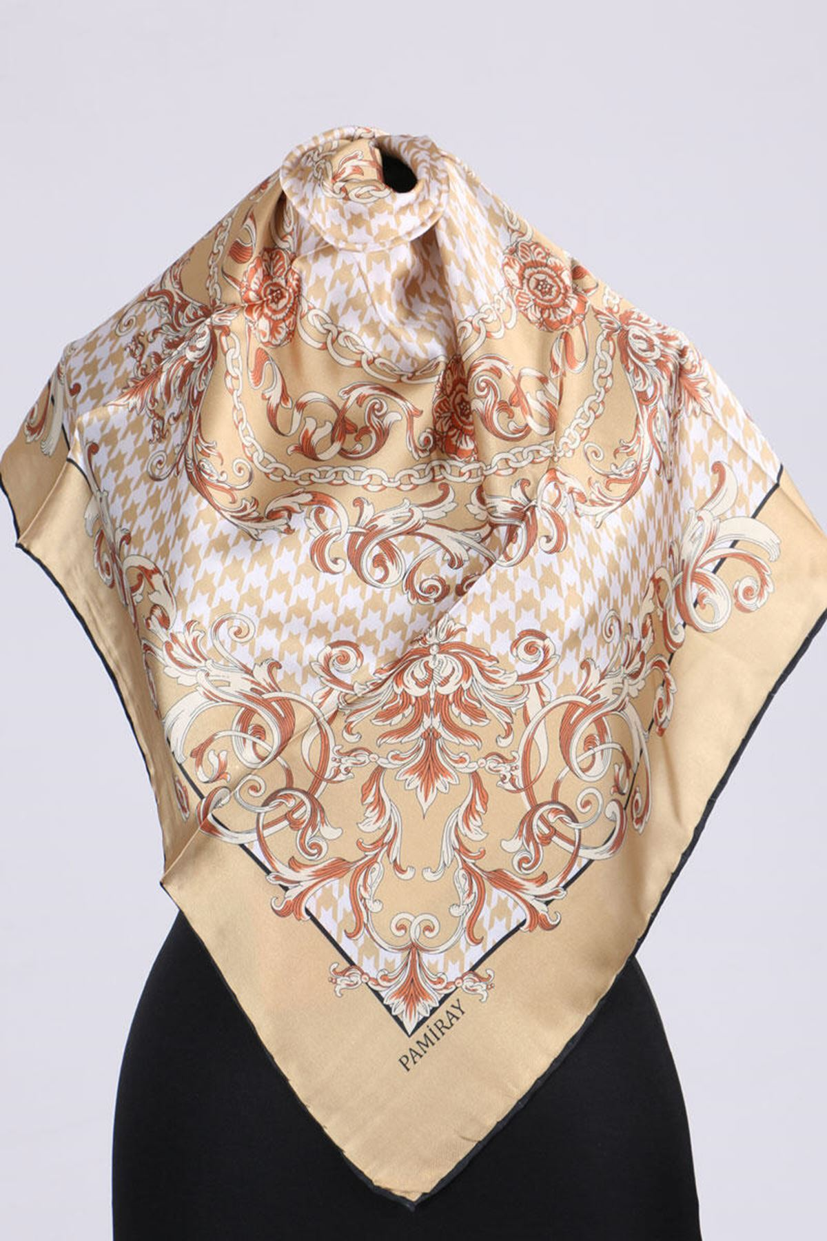 17164 Chain Patterned Twill Scarf - Mustard