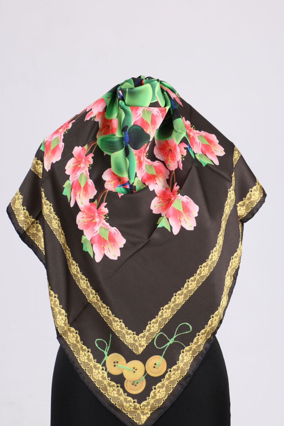 17167 Button-Flower Patterned Twill Scarf - V6