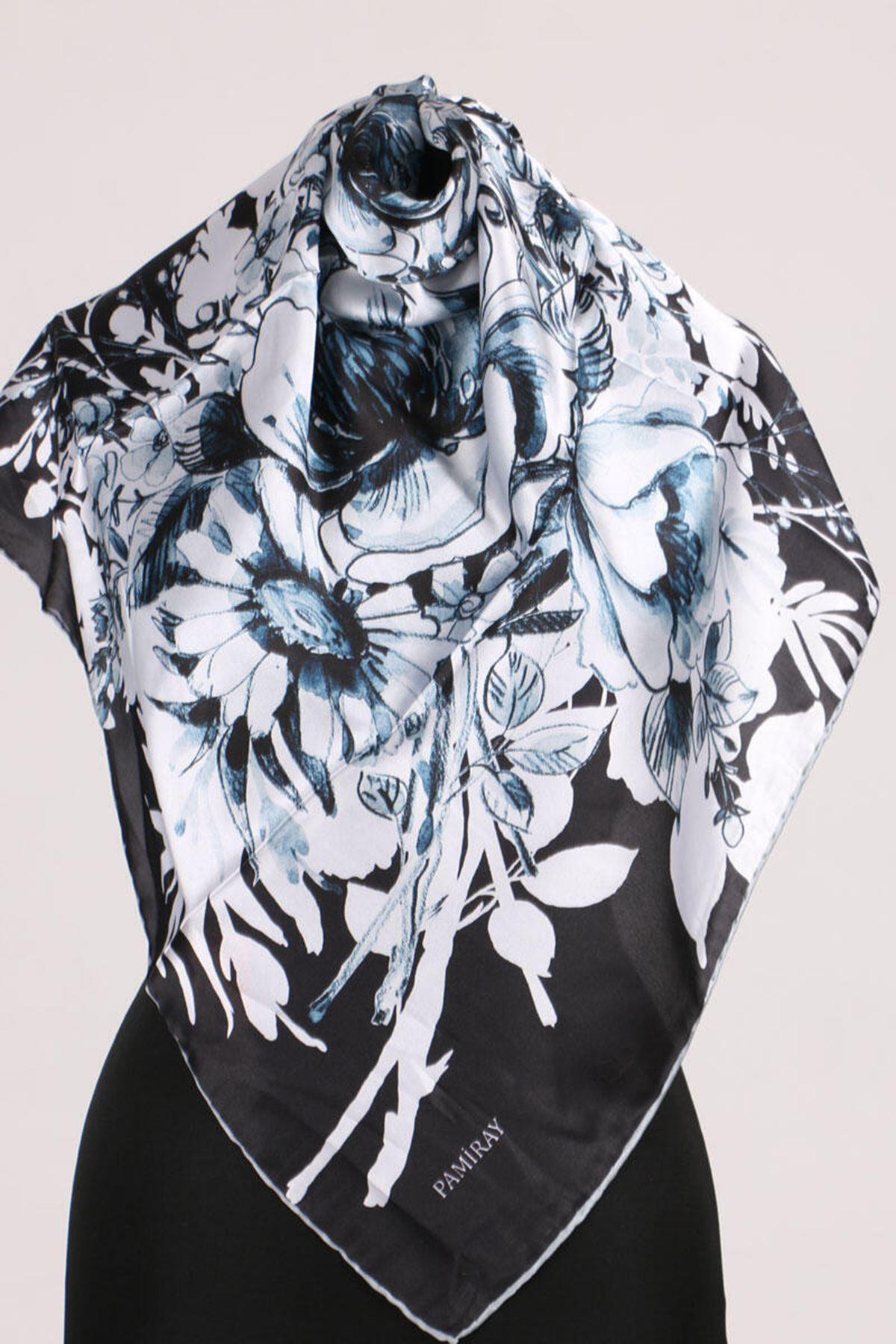 17163 Çiçek Desenli Twill Eşarp - Mavi-Siyah