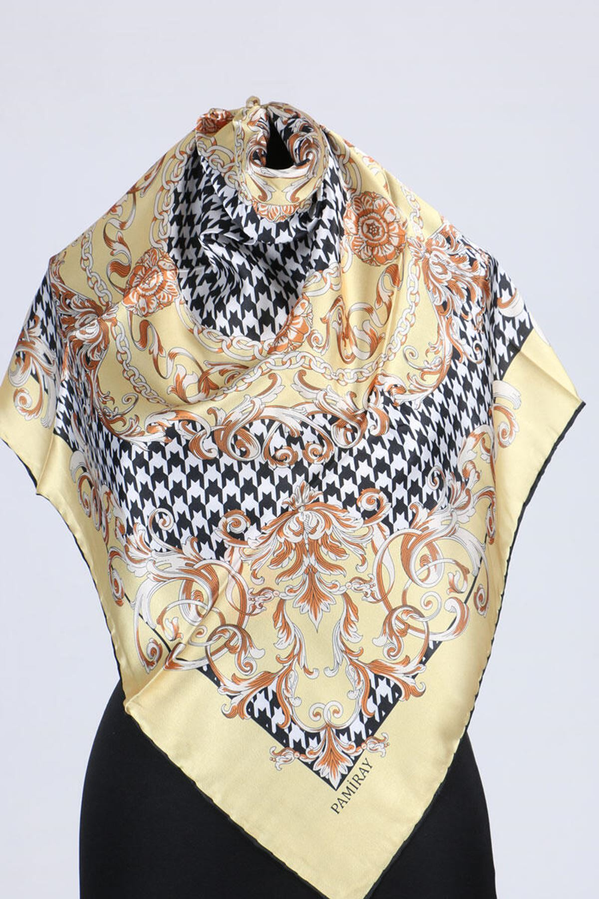17164 Chain Patterned Twill Scarf - Yellow