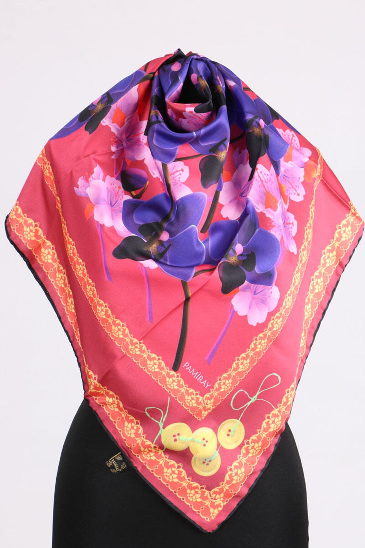 17167 Button-Flower Patterned Twill Scarf - V7