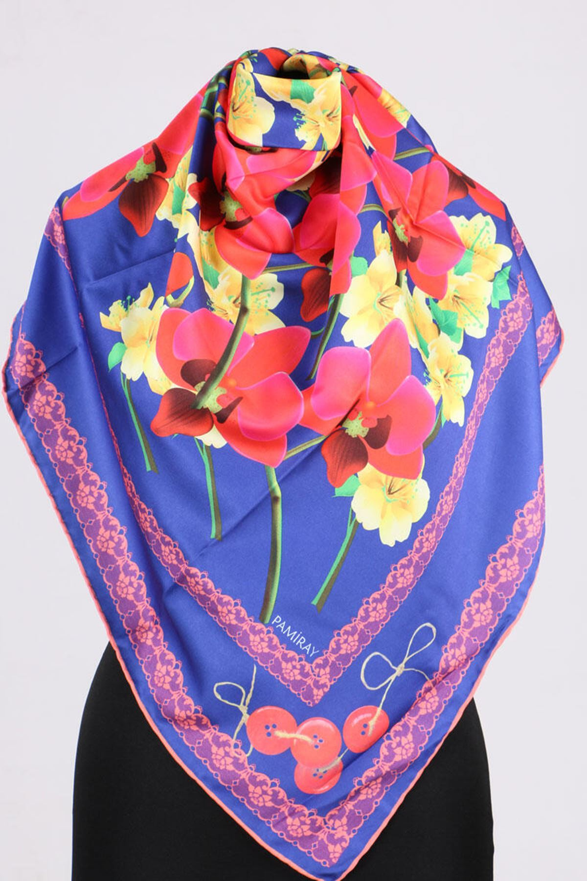 17167 Button-Flower Patterned Twill Scarf - V1