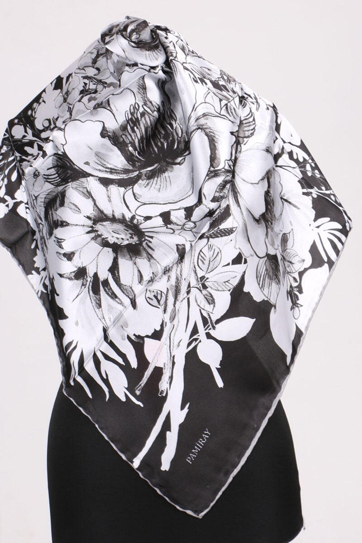 17163 Çiçek Desenli Twill Eşarp - Siyah