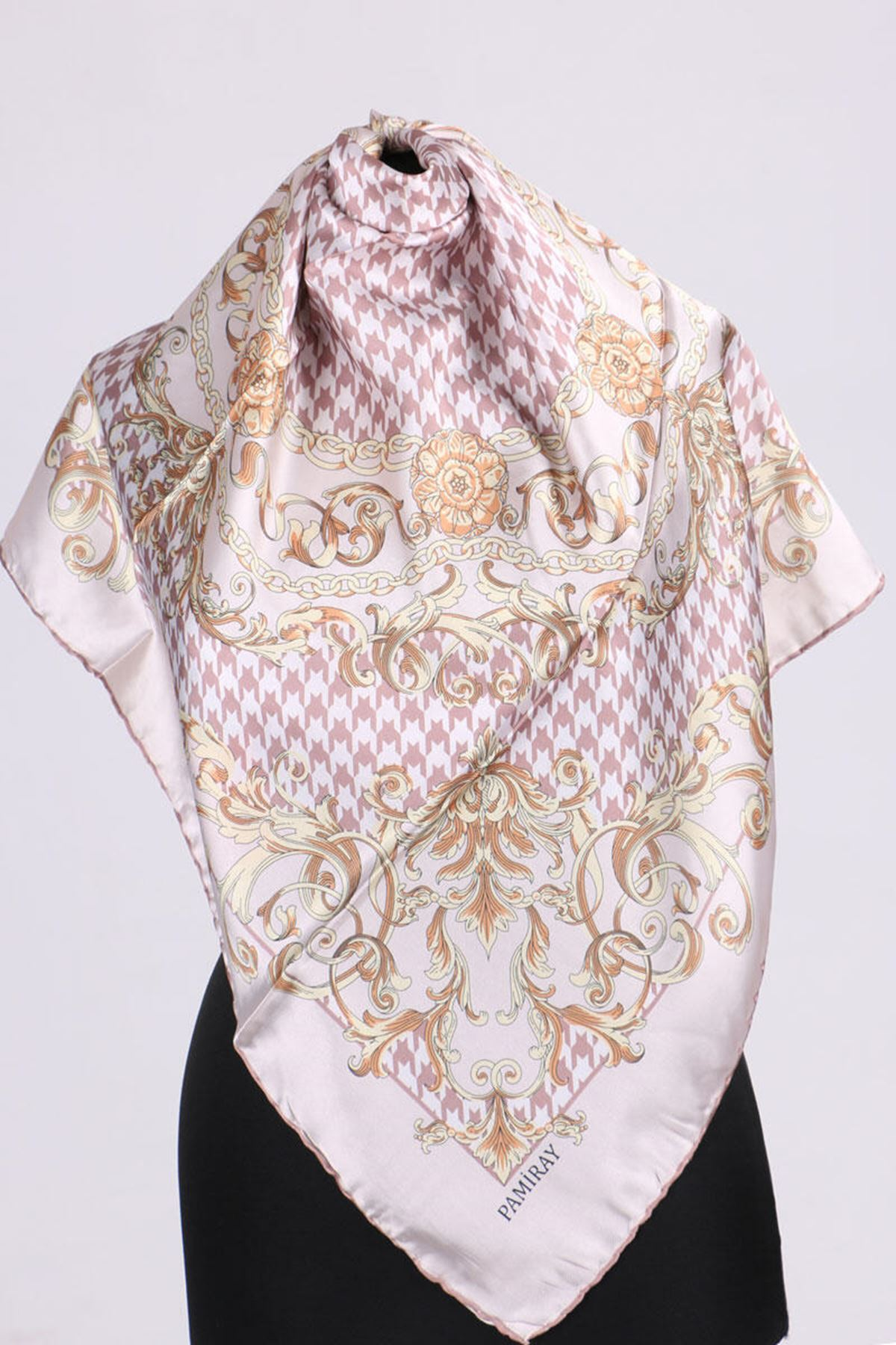 17164 Chain Patterned Twill Scarf - Powder
