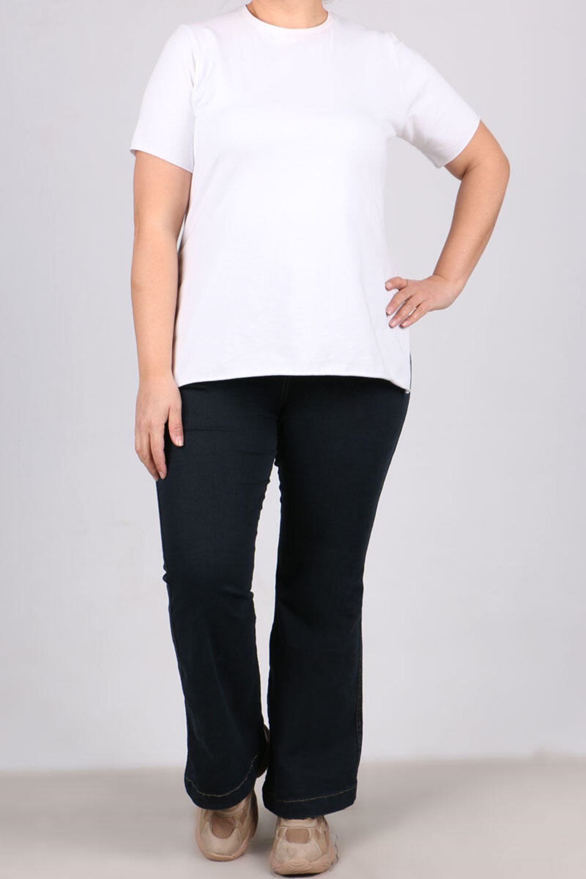 9110 Plus Size Flared Jeans - Black