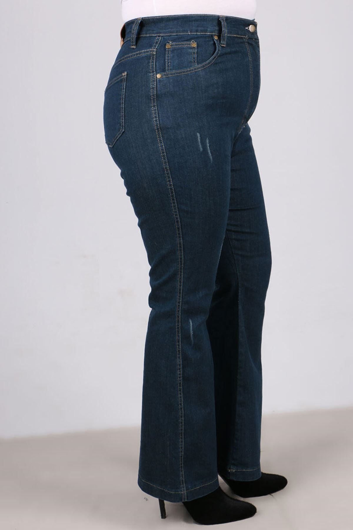 9110-1 Plus Size Flared Jeans -  Petrol