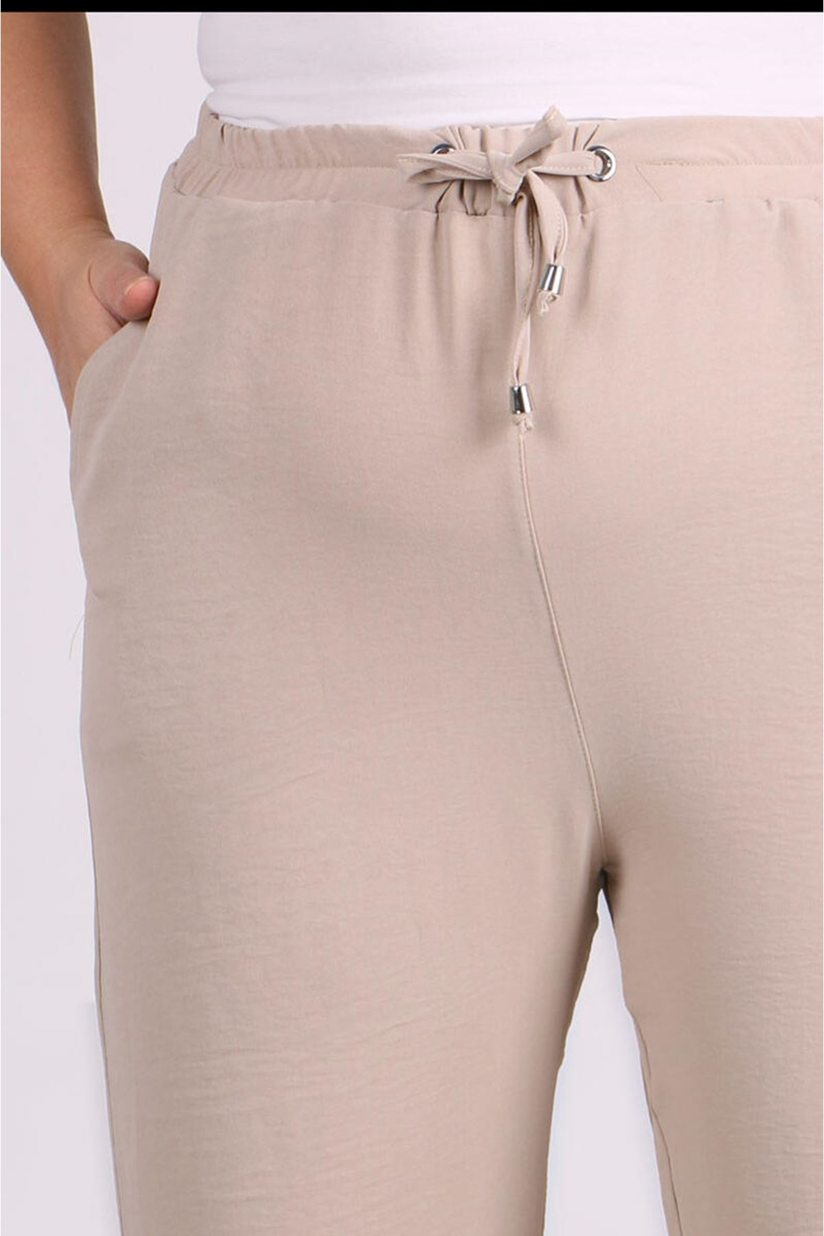 9113 Plus Size Pants with Elastic Waist and Trotters - Stone