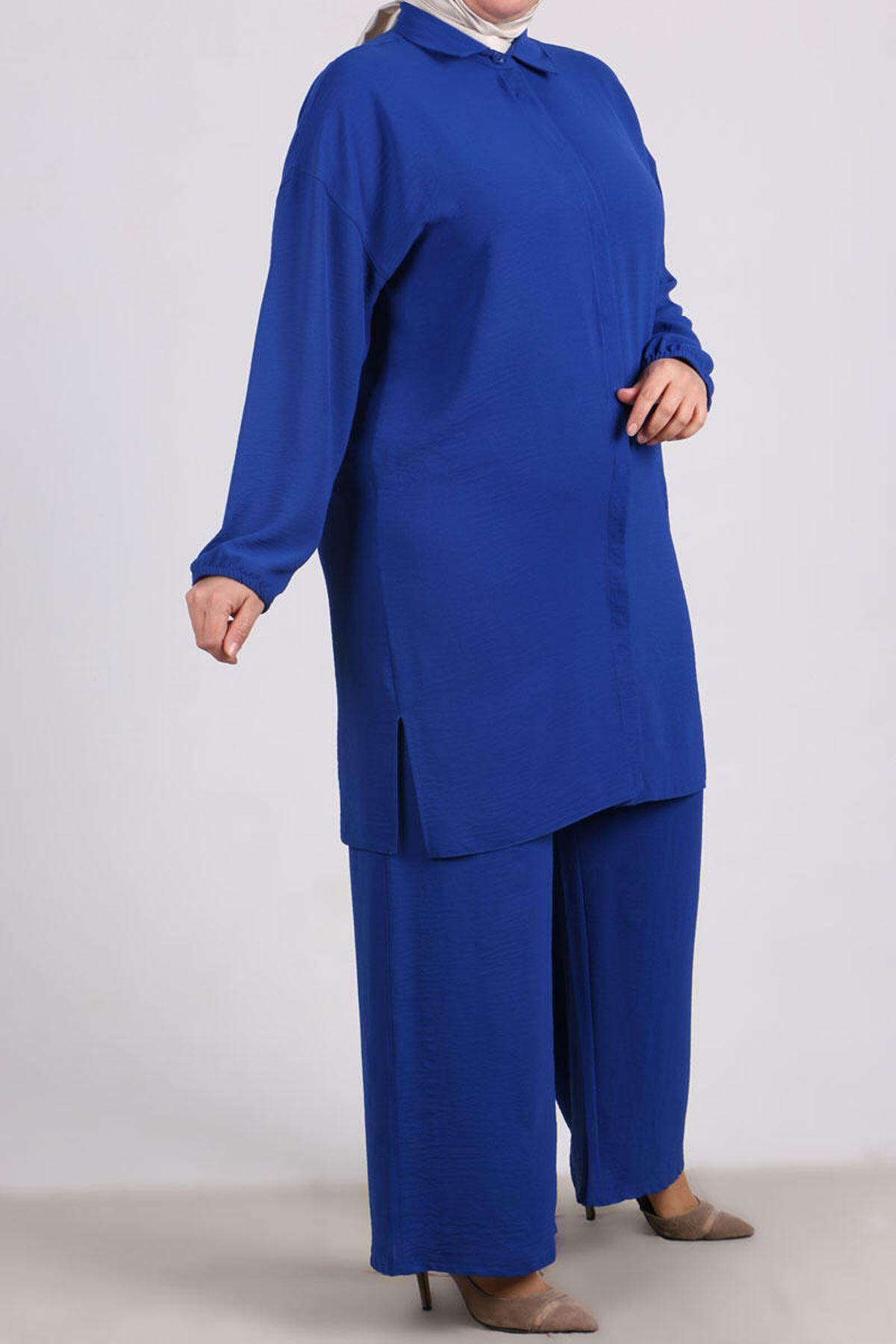 7682 Plus Size Hidden Buttoned Two Piece Set with Pants- Saxe