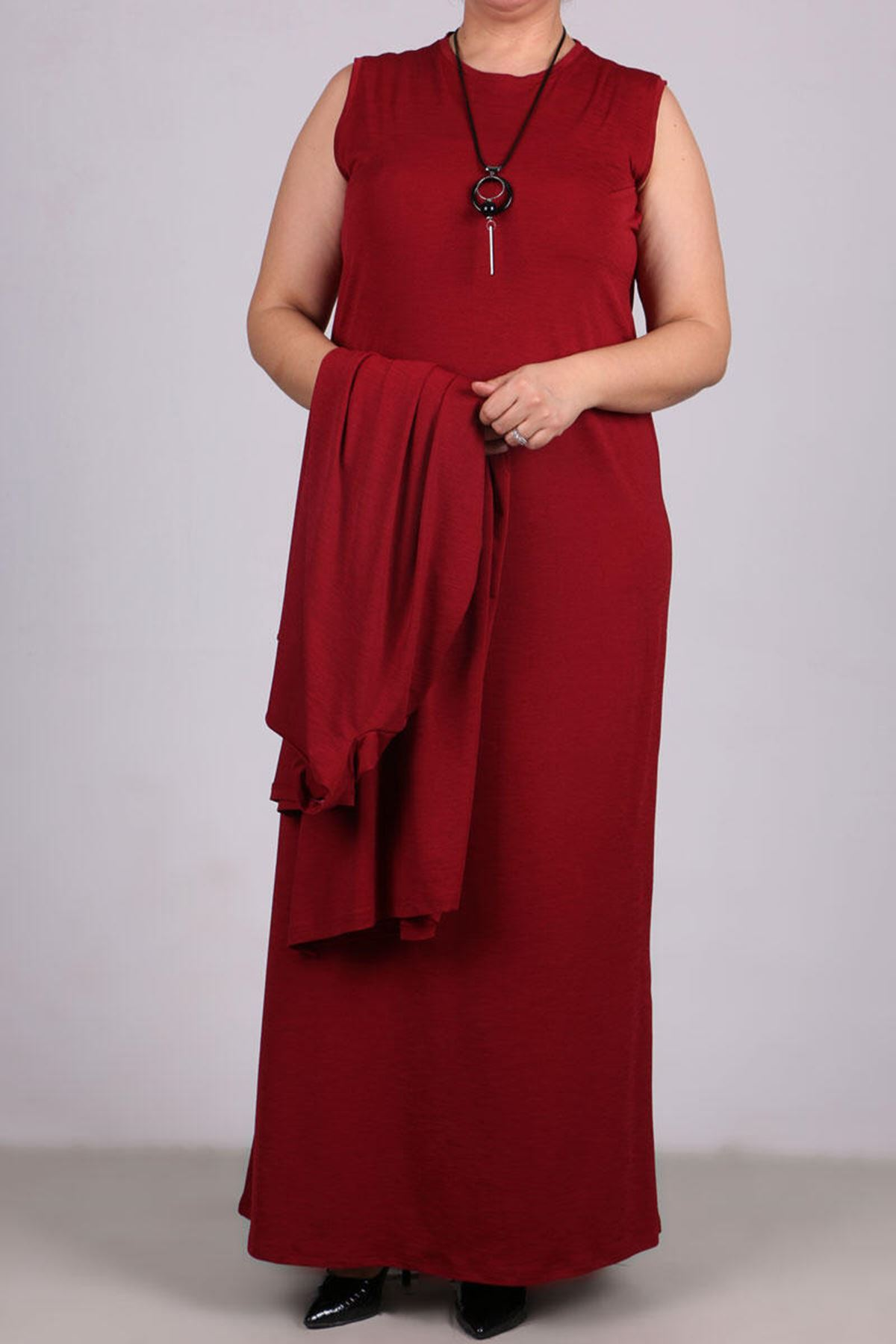 7210 Plus Size Two Piece Set with Dress and  Jacket - Claret Red