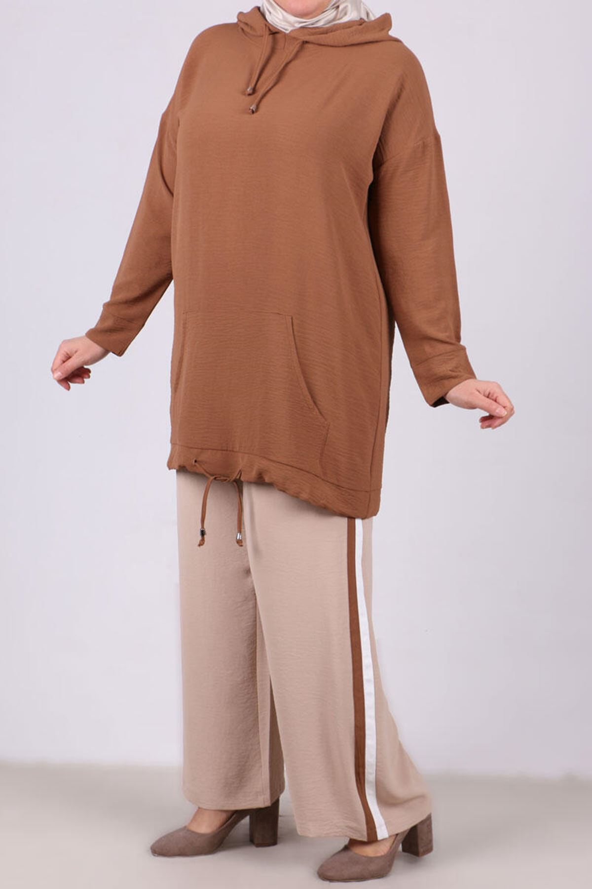 7673 Plus Size Hooded Two Piece Set with Tunic and Pants- Coffee