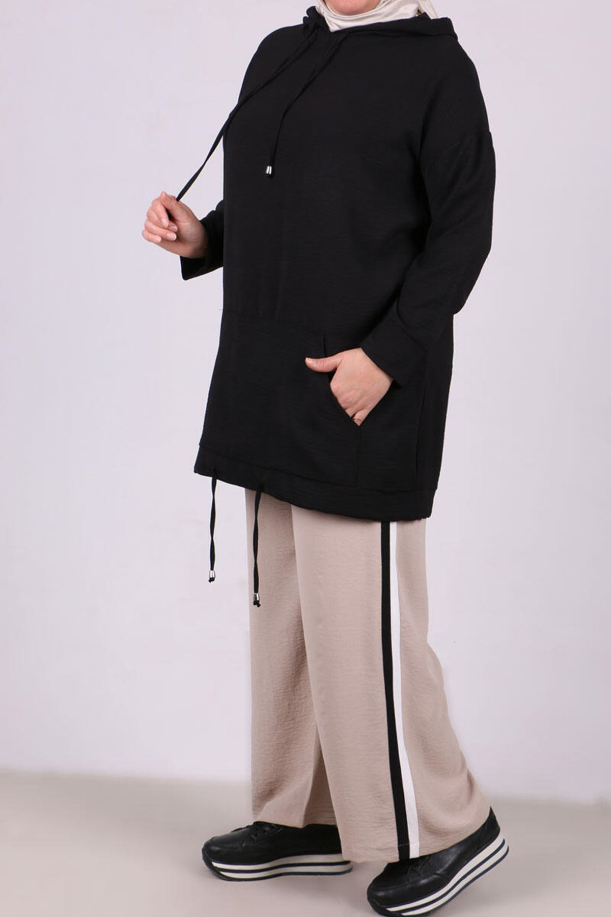 7673 Plus Size Hooded Two Piece Set with Tunic and Pants-Black
