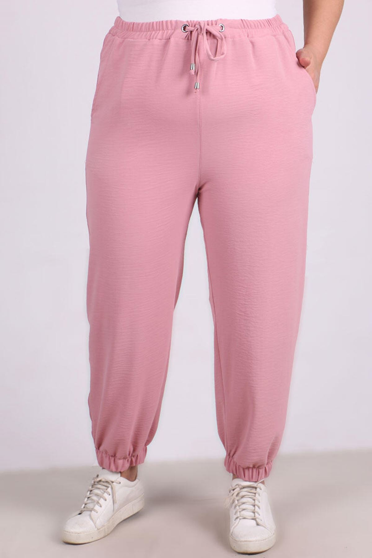 9113 Plus Size Pants with Elastic Waist and Trotters - Powder