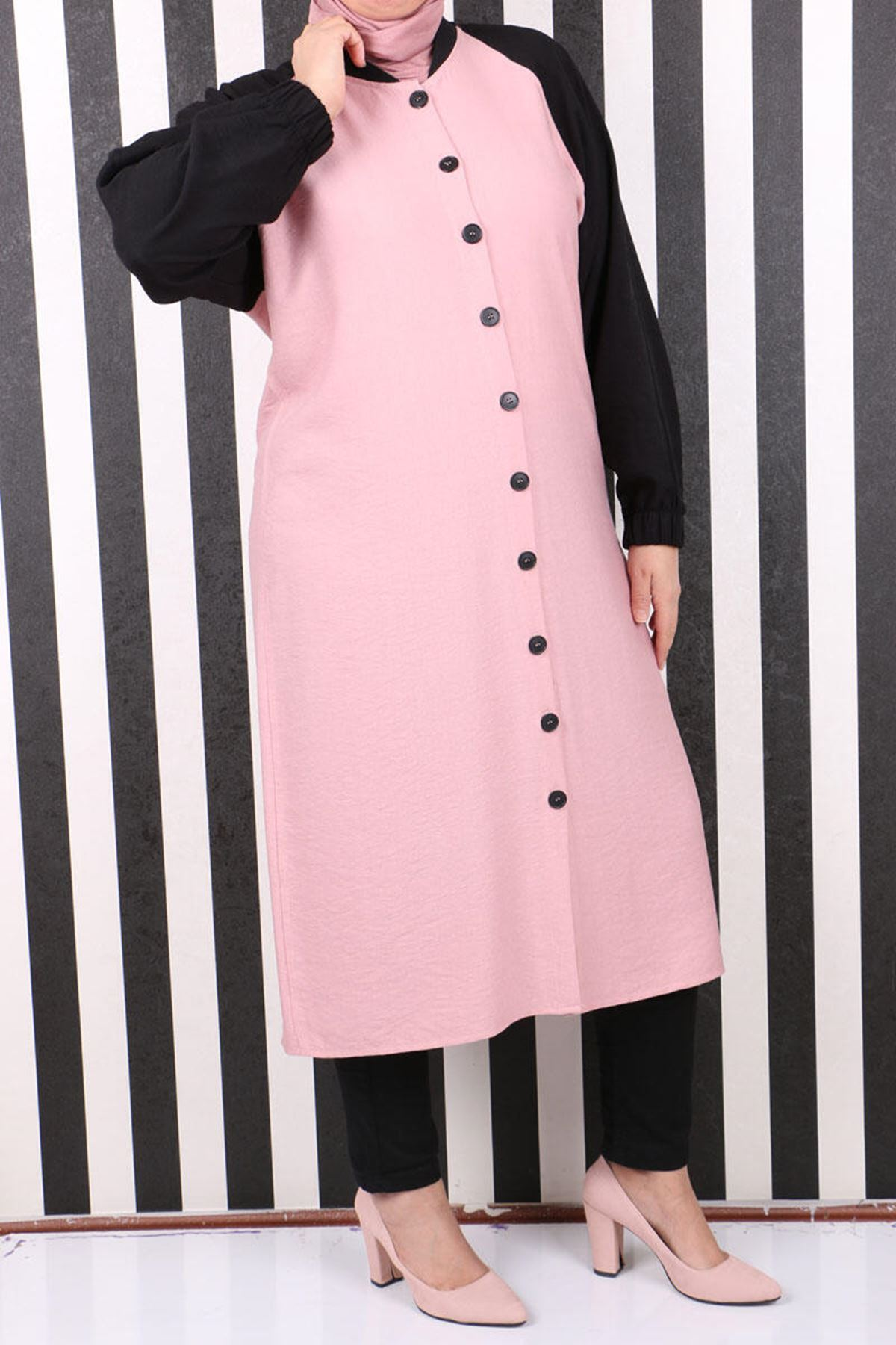 3136 Plus Size Raglan Sleeve Rayon Linen Coat- Powder