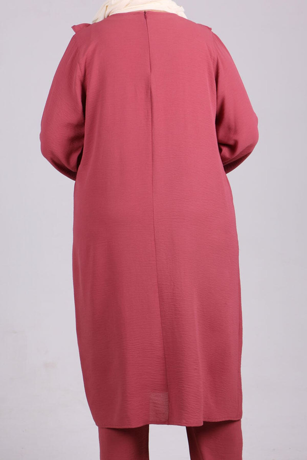 7674 Plus Size Two Piece Set with Tunic and Pants- Dusty Rose