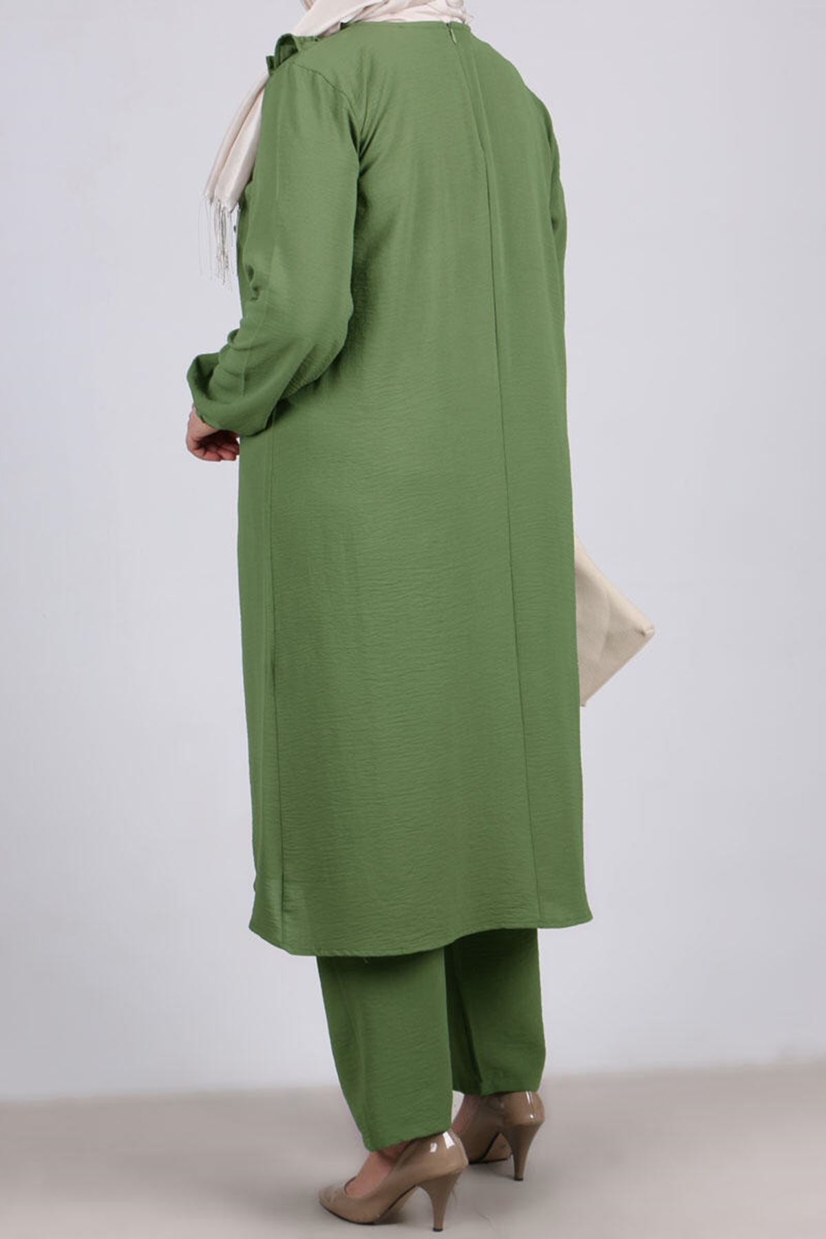 7674 Plus Size Two Piece Set with Tunic and Pants-Khaki