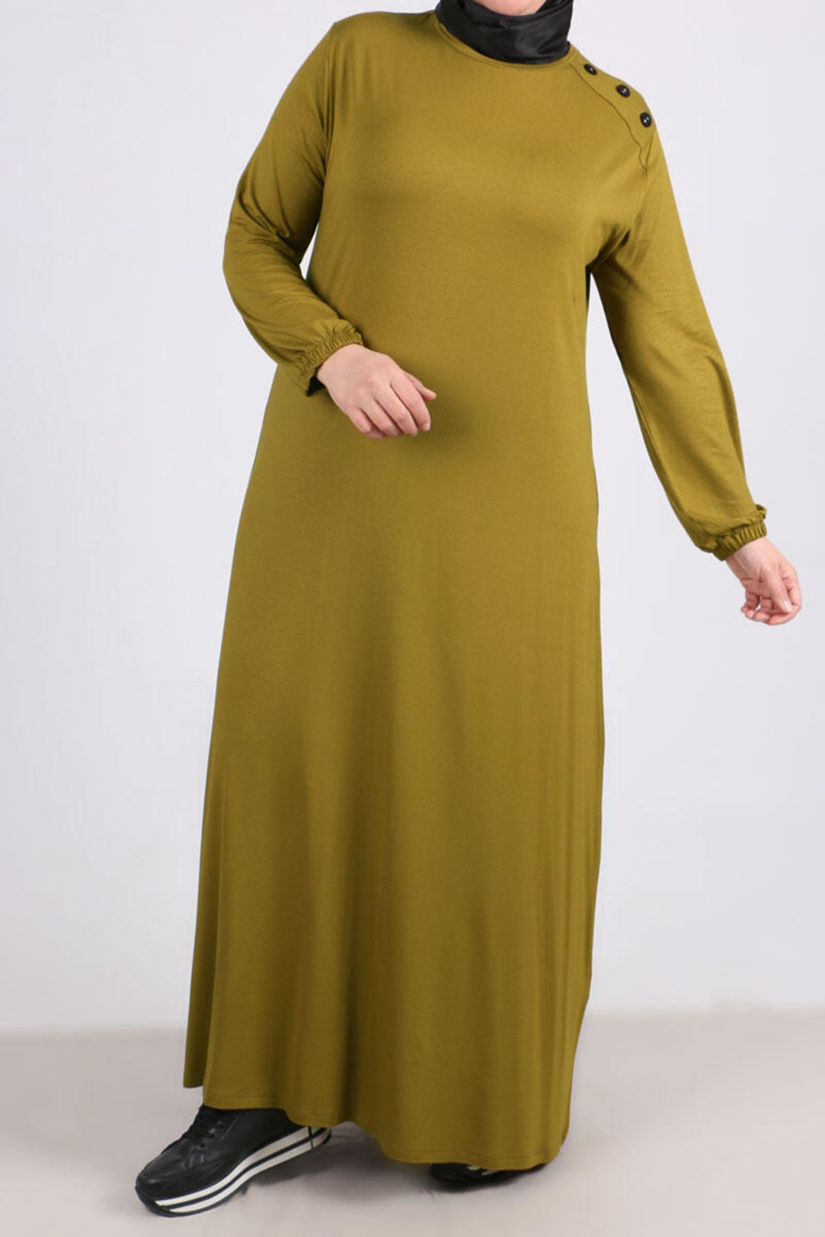2083 Plus Size Button Detailed Dress- Olive Green