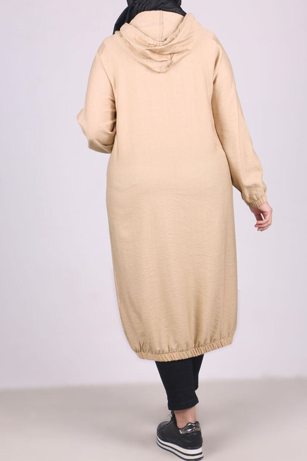 3125 Plus Size Coat with Pocket and Button- Beige