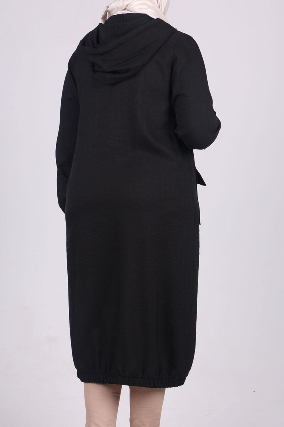 3125 Plus Size Coat with Pocket and Button- Black