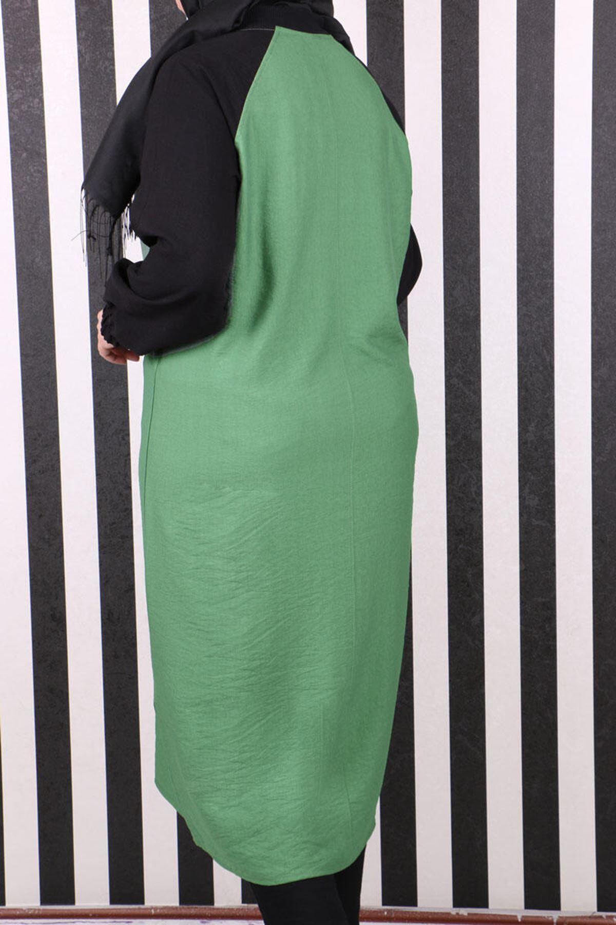 3136 Plus Size Raglan Sleeve Rayon Linen Coat- Naphtha Green