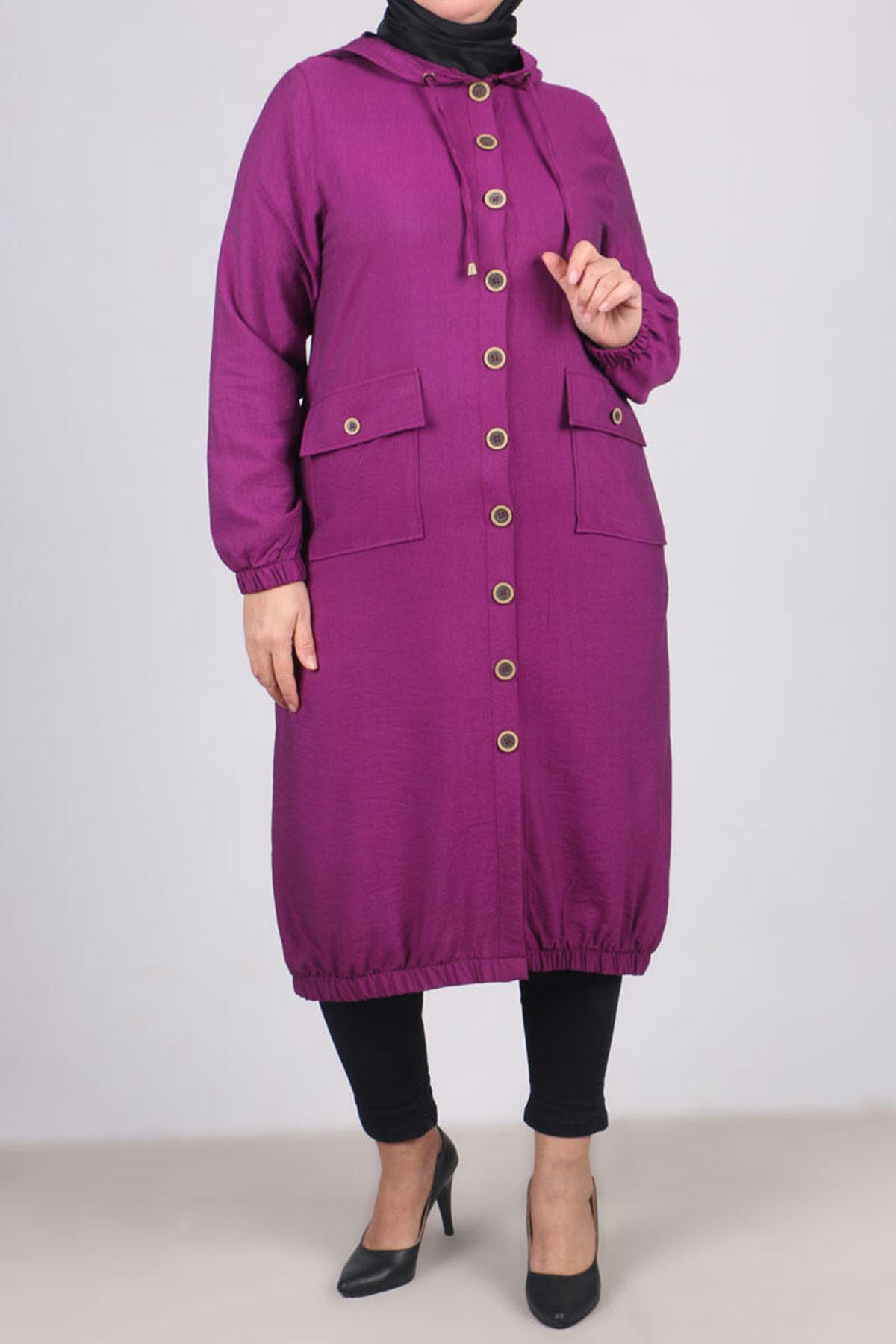 3125 Plus Size Coat with Pocket and Button- Plum