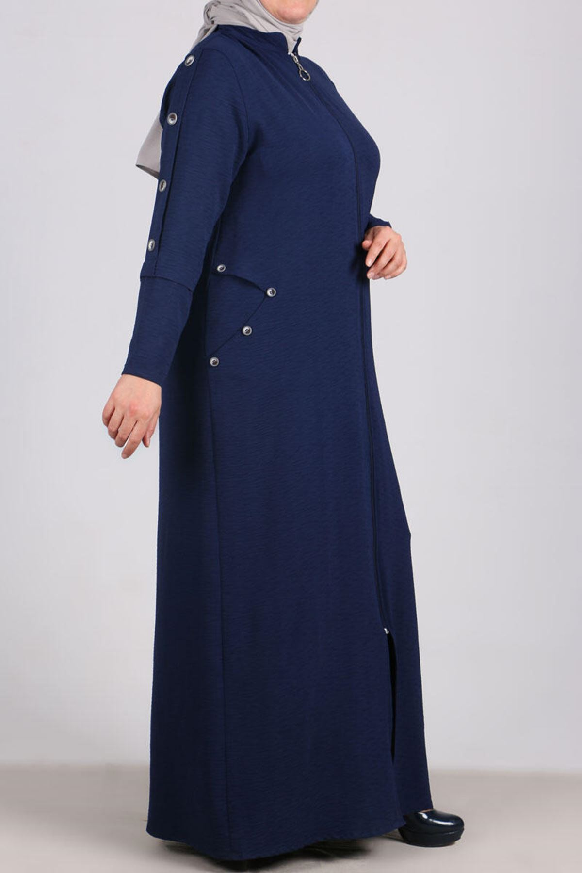 6036 Plus Size Button Detailed Topcoat- Navy Blue