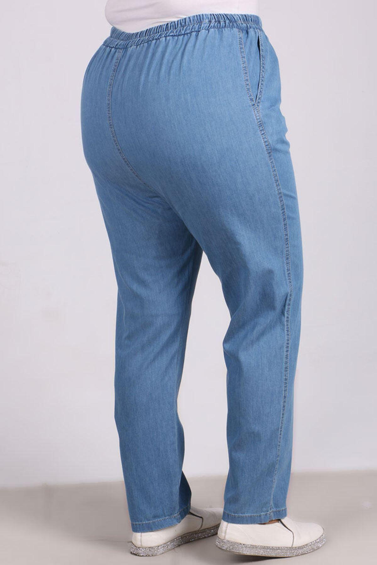 9123 Büyük Beden Beli Lastikli Dar Paça Kot Pantolon- Buz Mavi