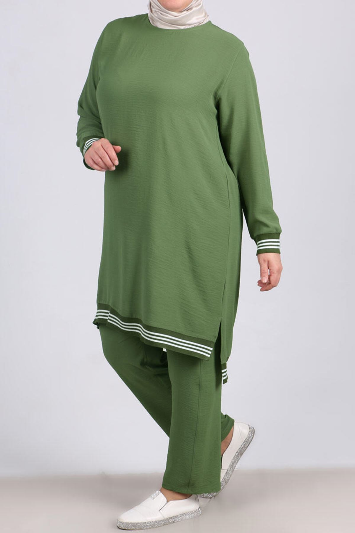 7671 Plus Size Ribbed Two Piece Set with Tunic and Pants- Khaki