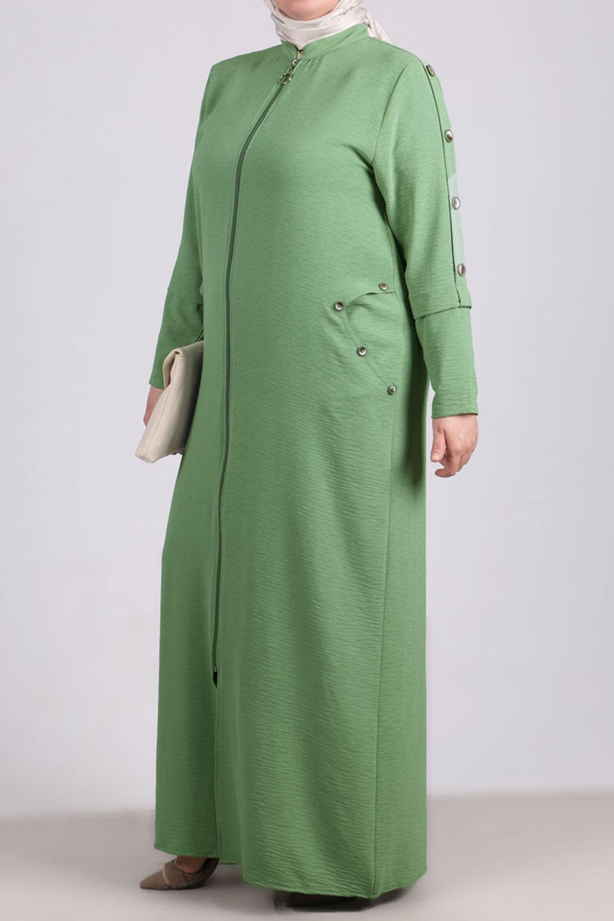 6036 Plus Size Button Detailed Topcoat- Naphtha Green