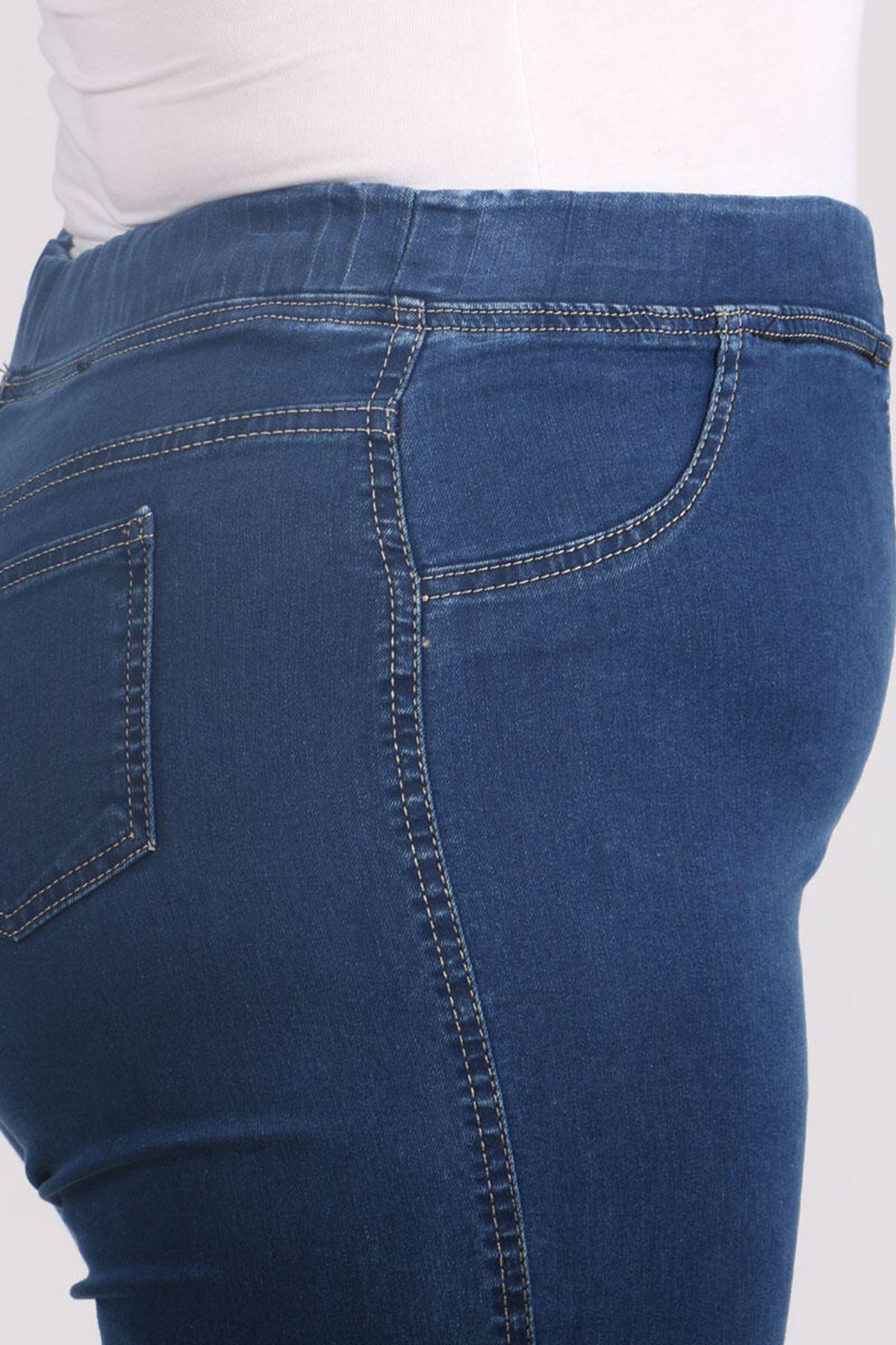 9109-7 Büyük Beden Beli Lastikli Dar Paça Kot Pantalon-Lacivert