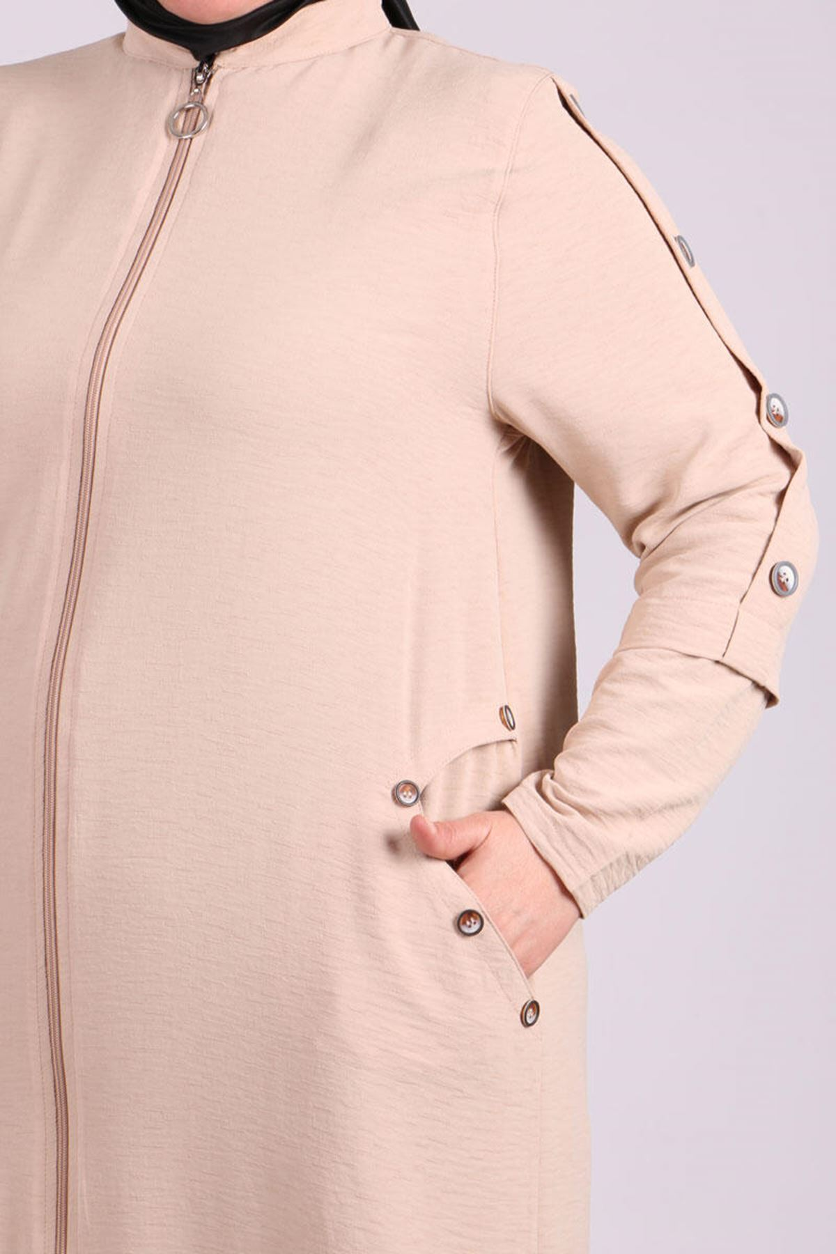 6036 Plus Size Button Detailed Topcoat- Beige