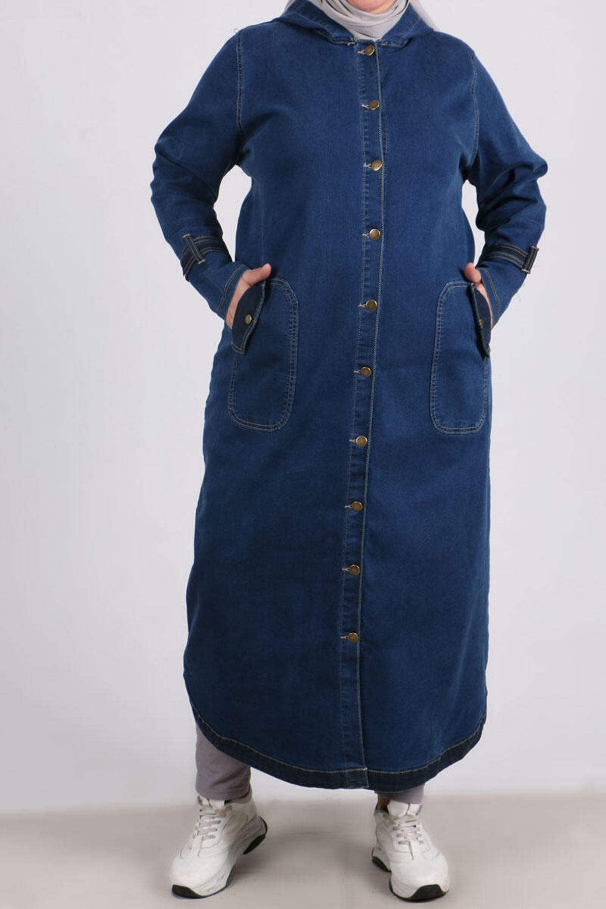 3142 Plus Size Hooded Jeans Coat- Navy Blue