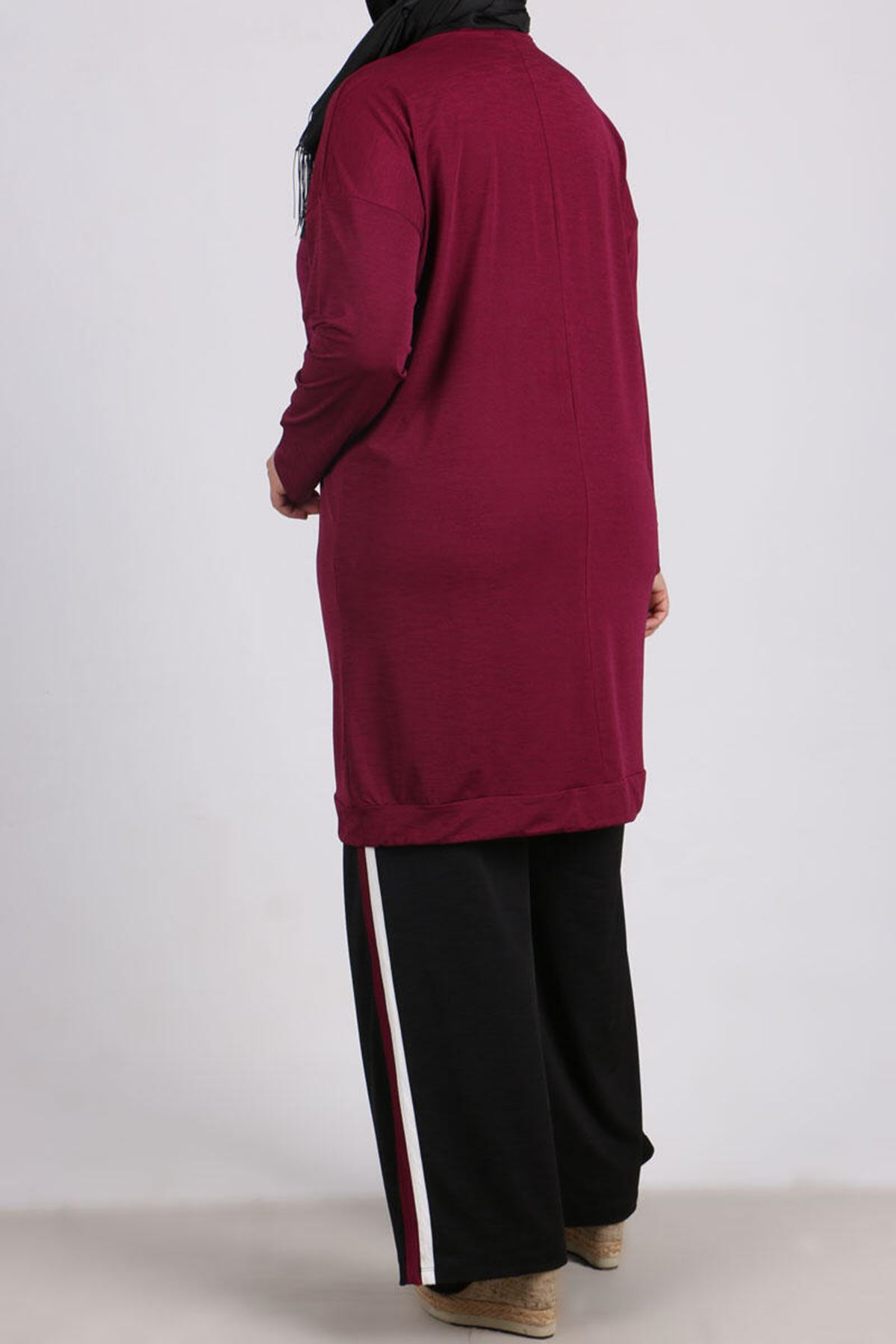 7678 Plus Size Two Piece Set with Tunic and Pants- Plum - Black