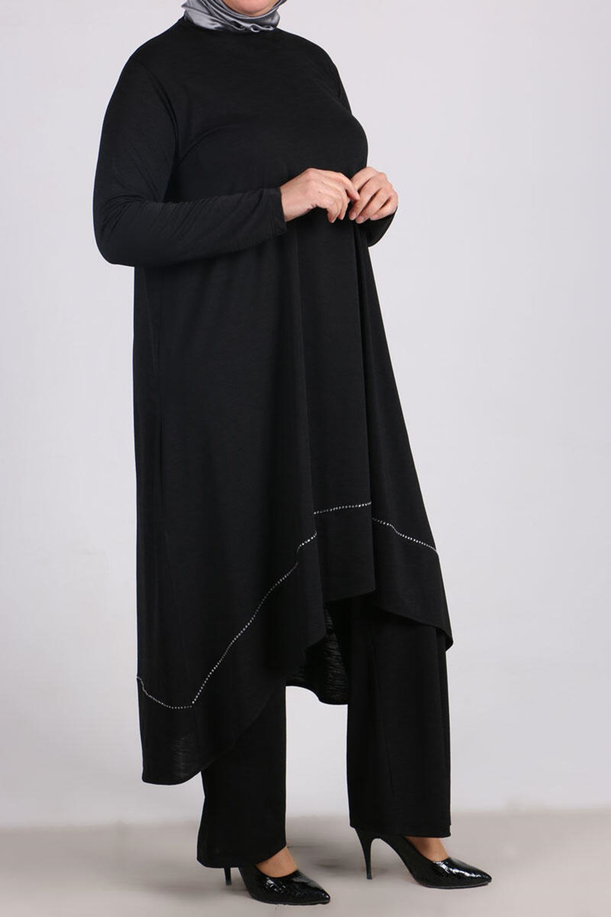 7675 Plus Size Two Piece Set with Tunic and Pants- Black