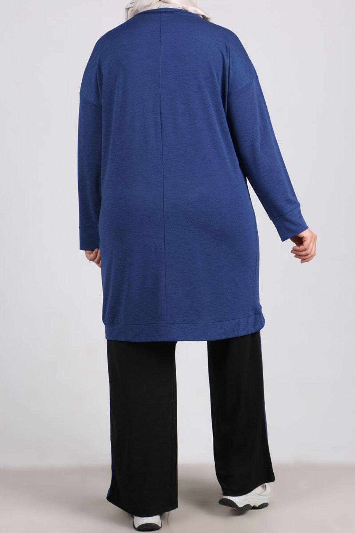 7678 Plus Size Two Piece Set with Tunic and Pants- Indigo