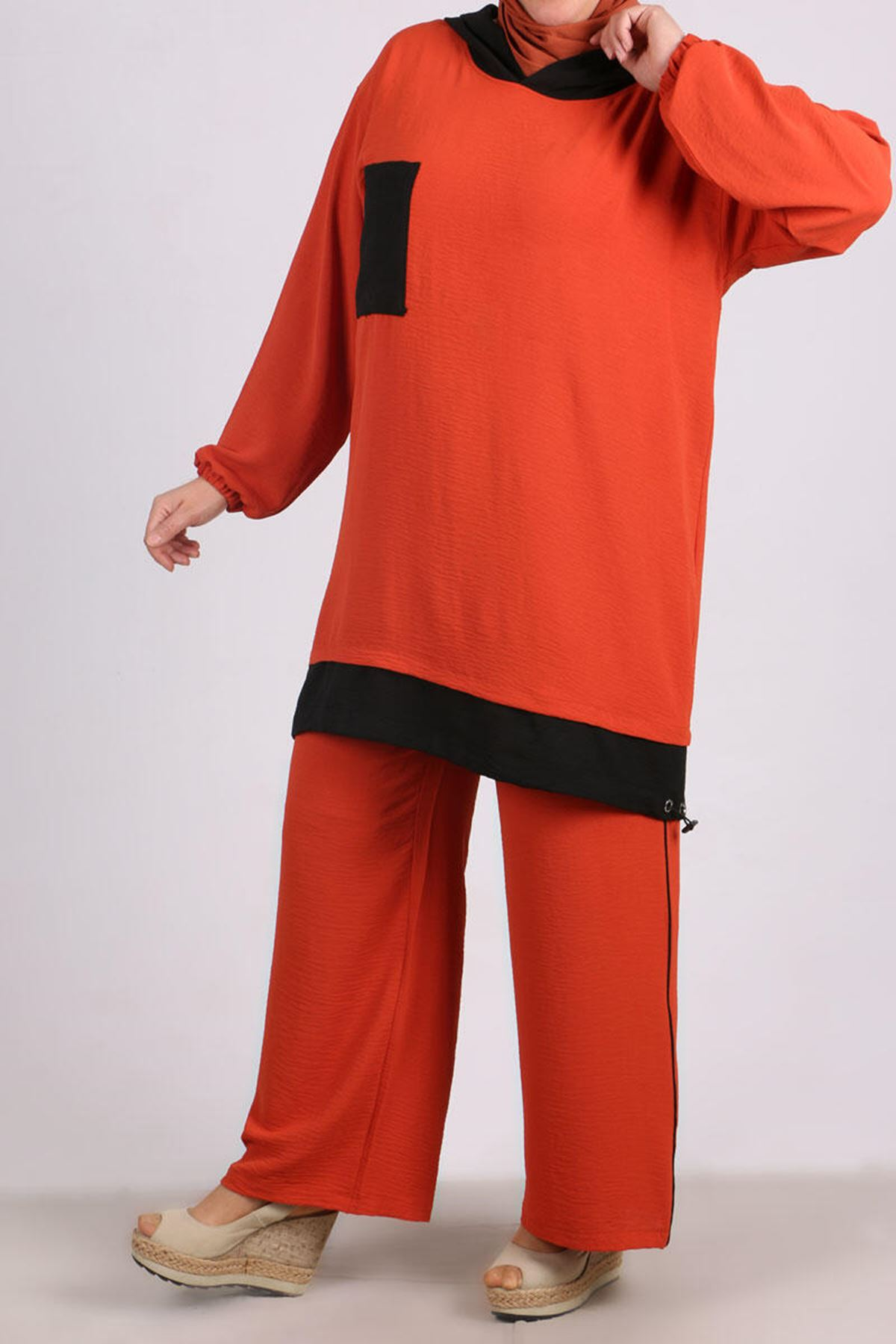 7681 Plus Size Hooded Two Piece Set with Tunic and Pants- Terra Cotta