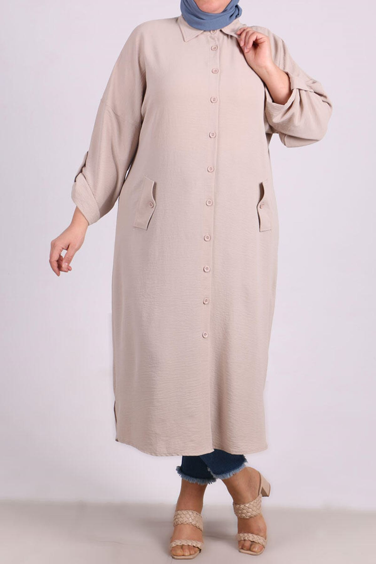 8423 Plus Size Shirt with Low Sleeve - Stone