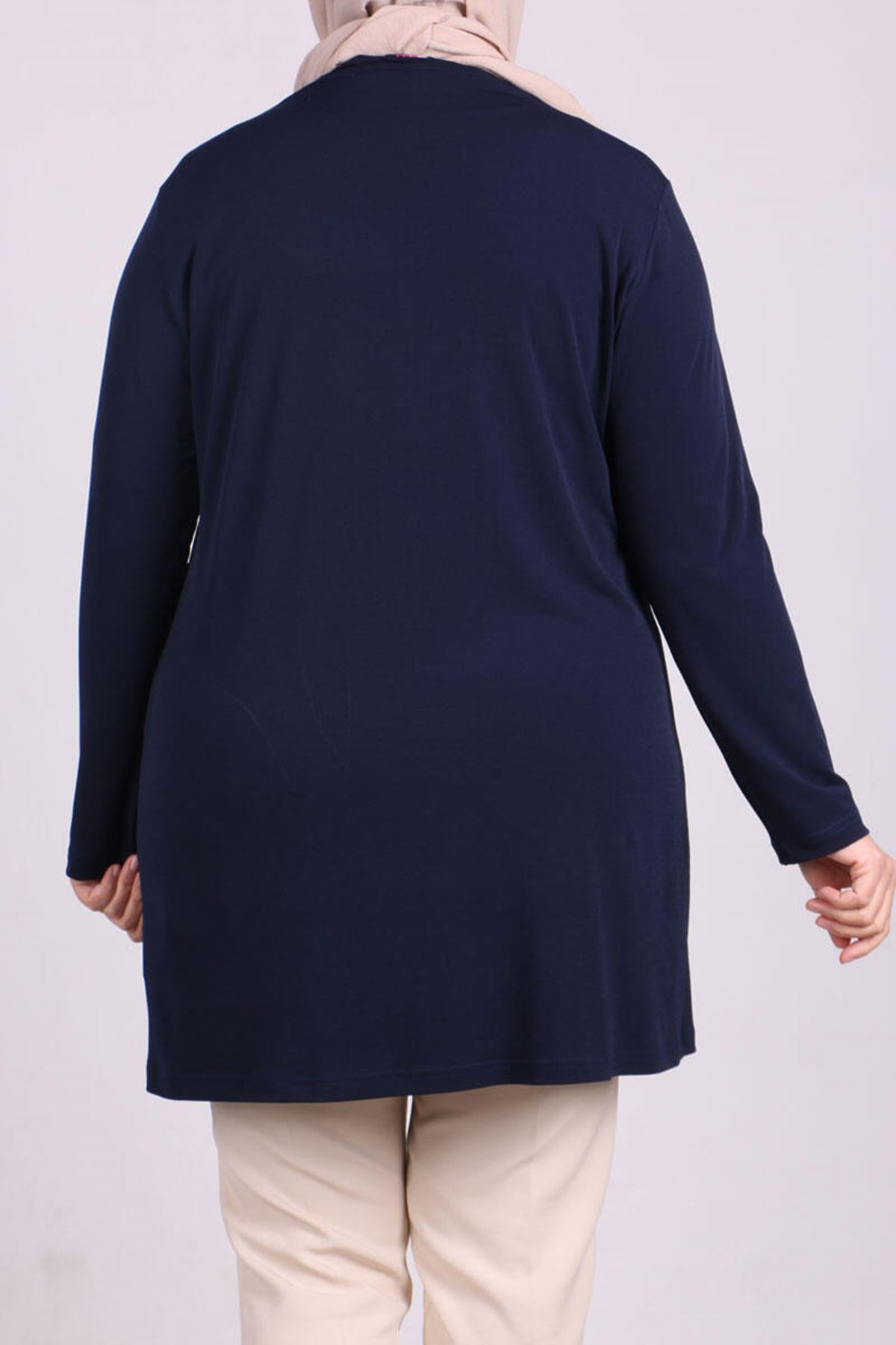 3140  Plus Size Hook and Eye Front Jacket - Navy Blue