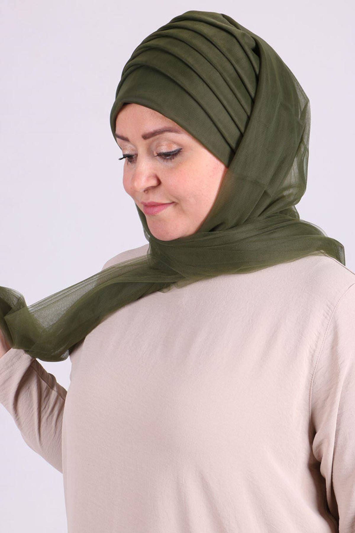 17179 Instant Scarf for Evening -Khaki