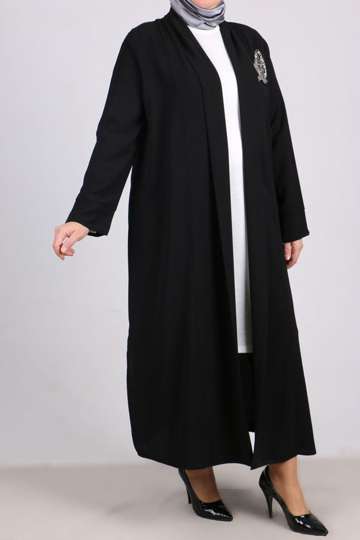 7110 Plus Size Two Piece Set with Tunic and Jacket- Black