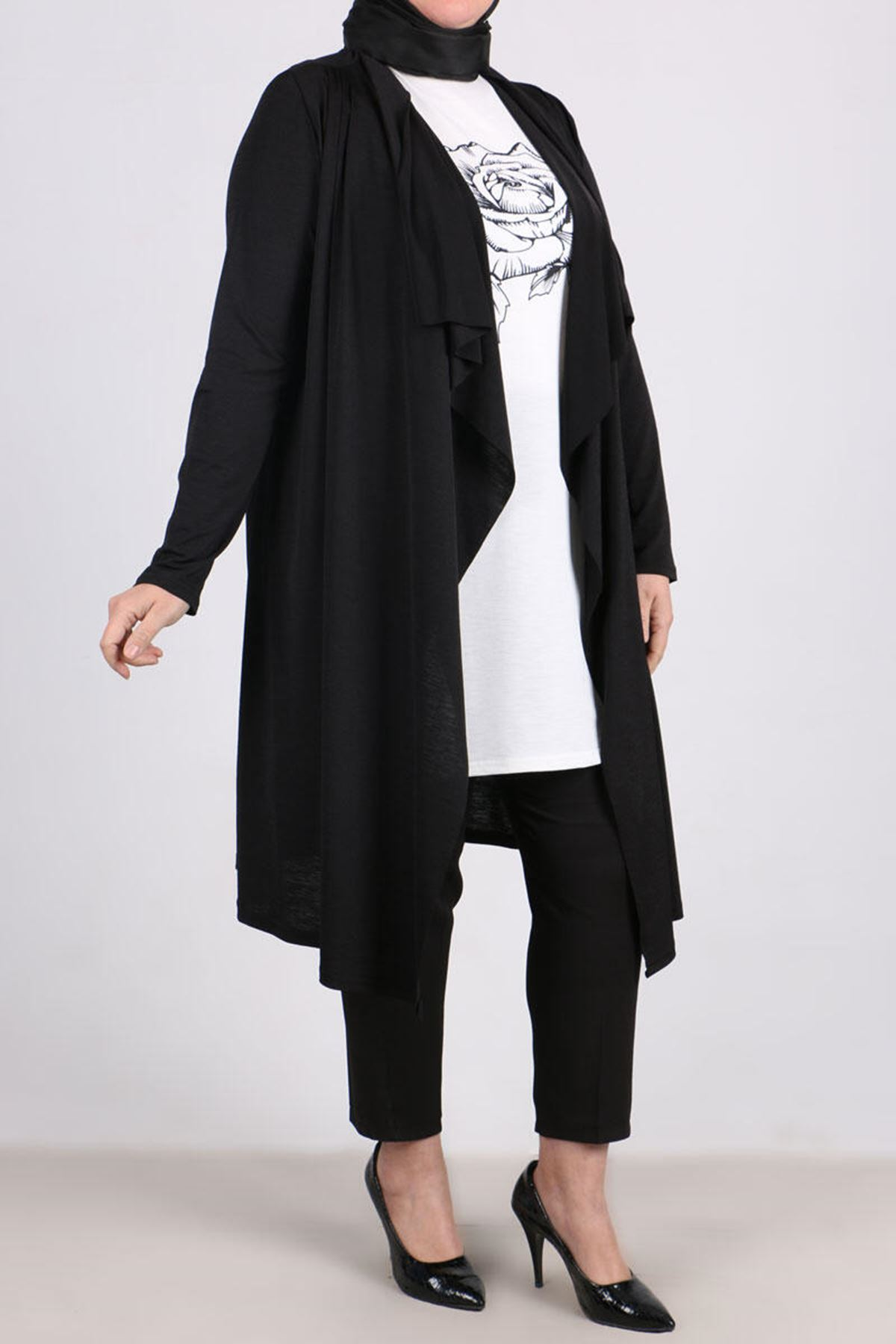 7109 Plus Size Two Piece Set with Tunic and Jacket- Black