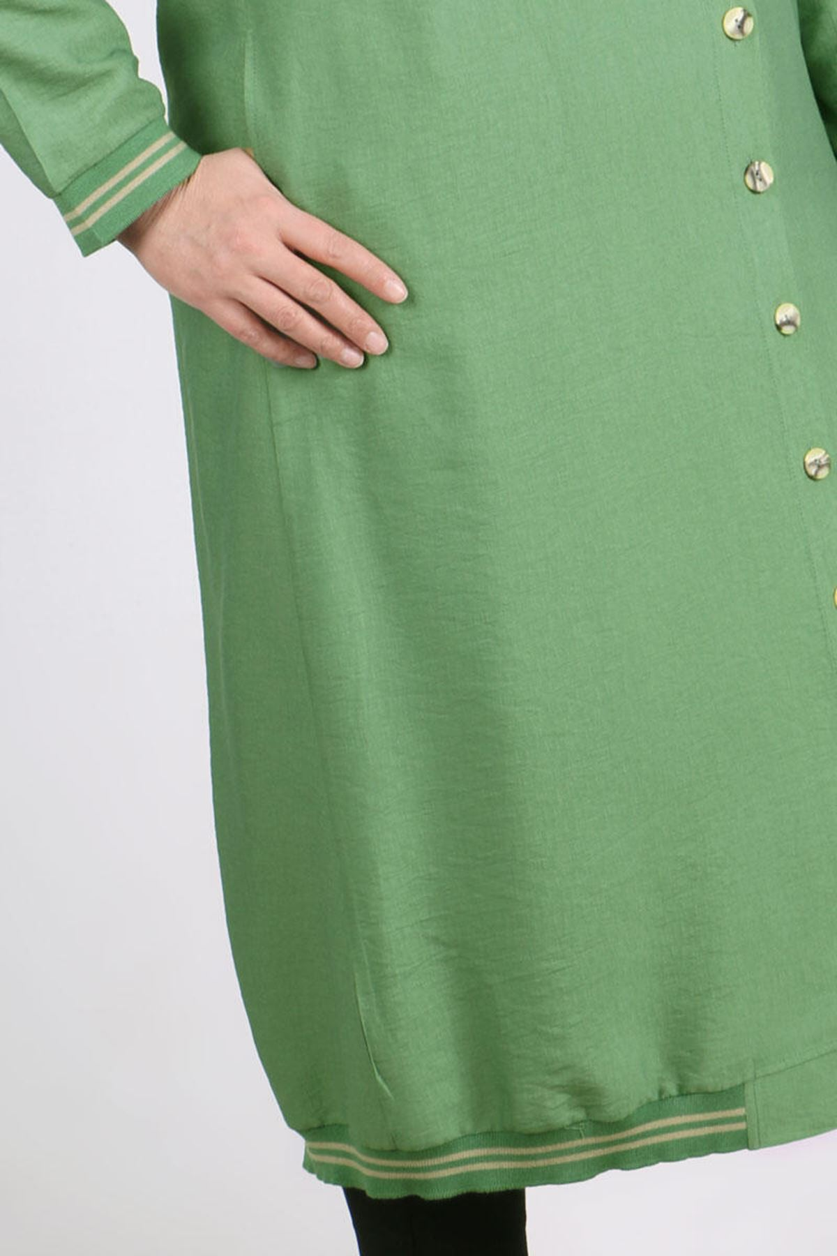 3141 Plus Size Buttoned Rayon Linen Coat - Naphtha Green