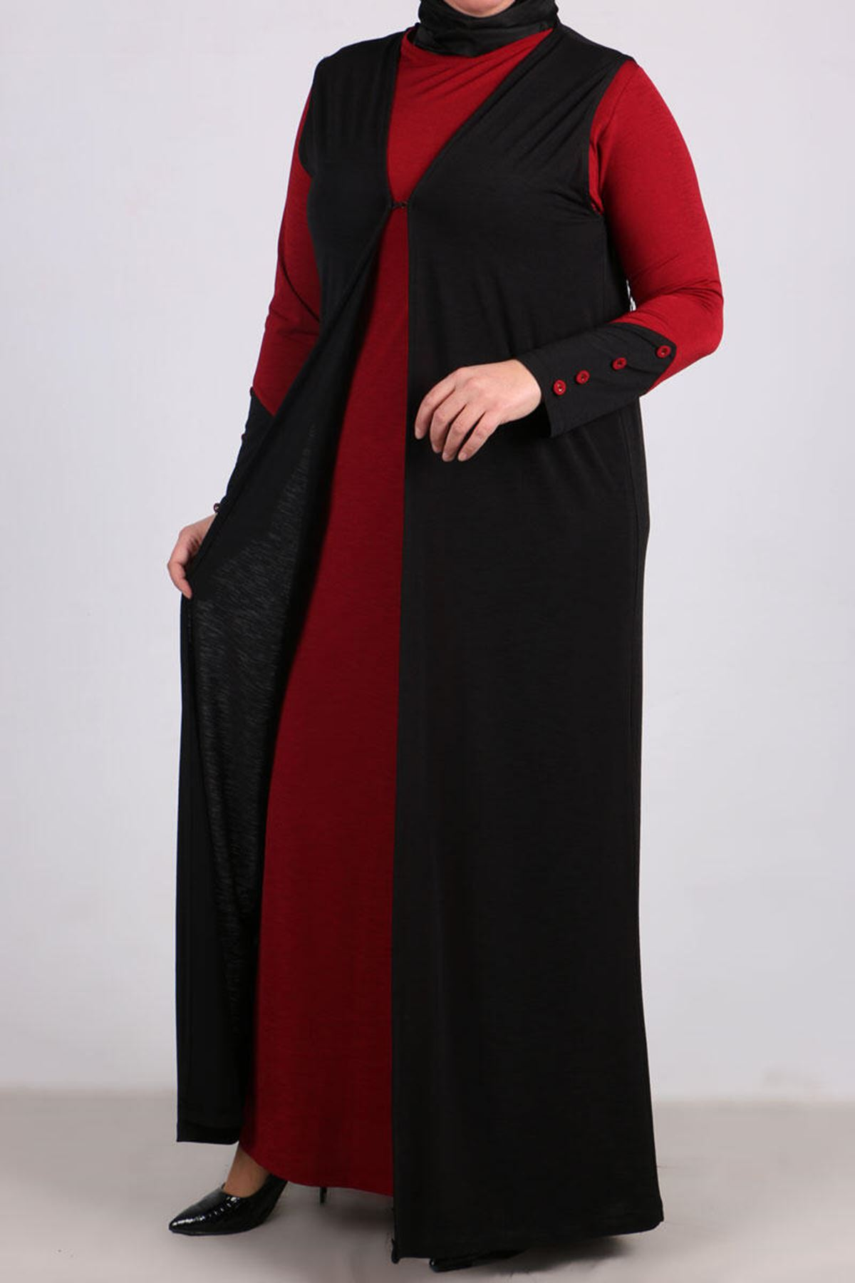 7212 Plus Size Two Piece Set with Dress and Vest - Claret Red