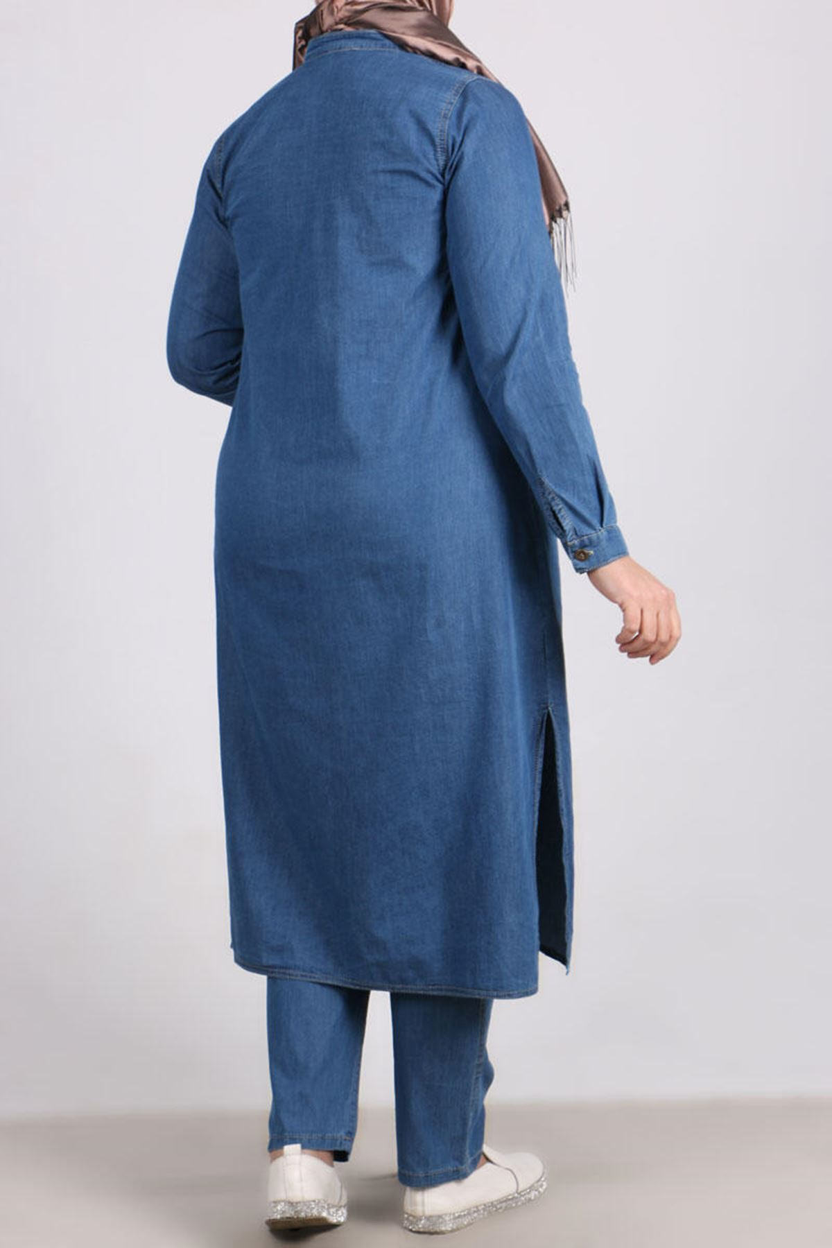 7680 Plus Size Denim Two Piece Set with Tunic and Pants-Blue