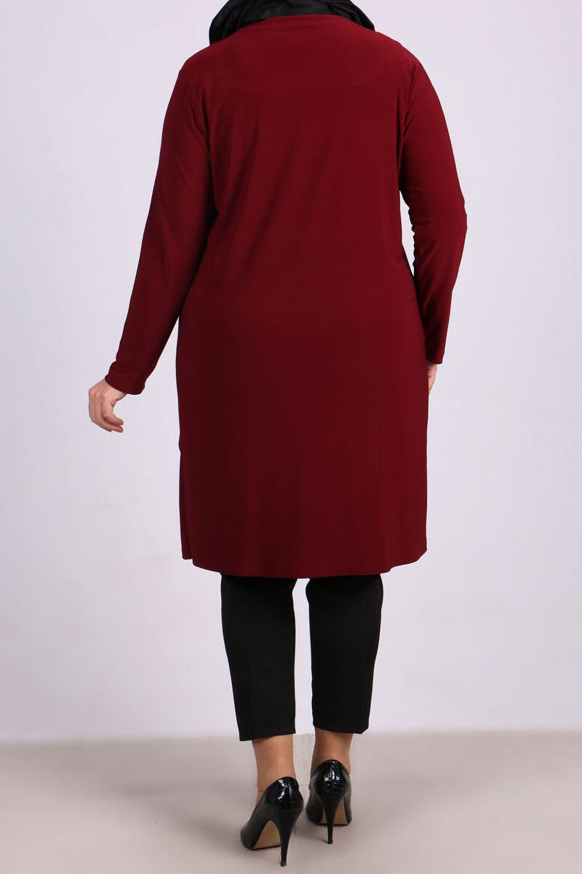 3145  Plus Size Hook and Eye Front Jacket - Claret Red