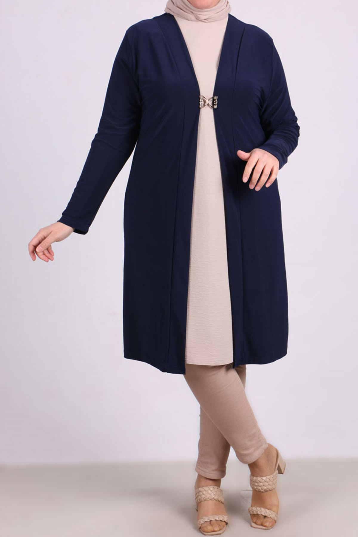 3145  Plus Size Hook and Eye Front Jacket - Navy Blue