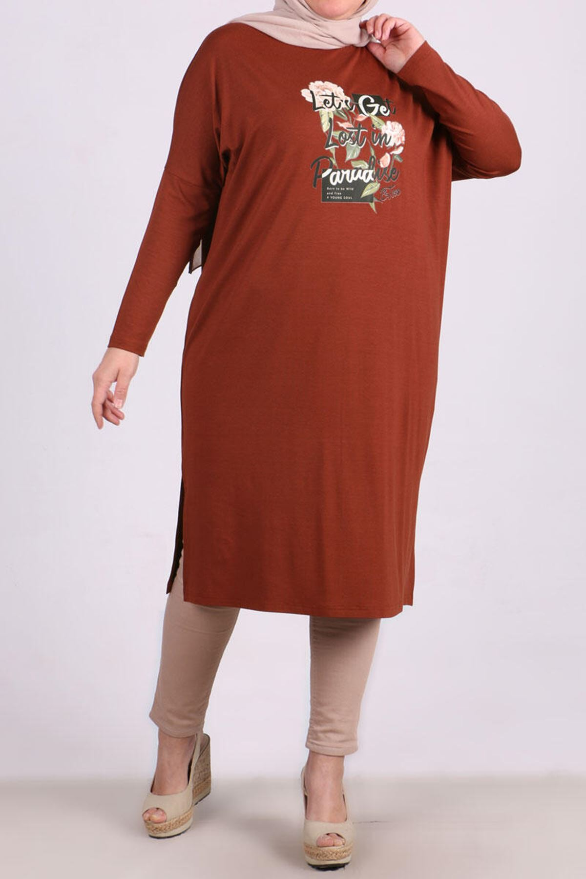 Plus Size Tunic with Low Sleeve - Terra Cotta