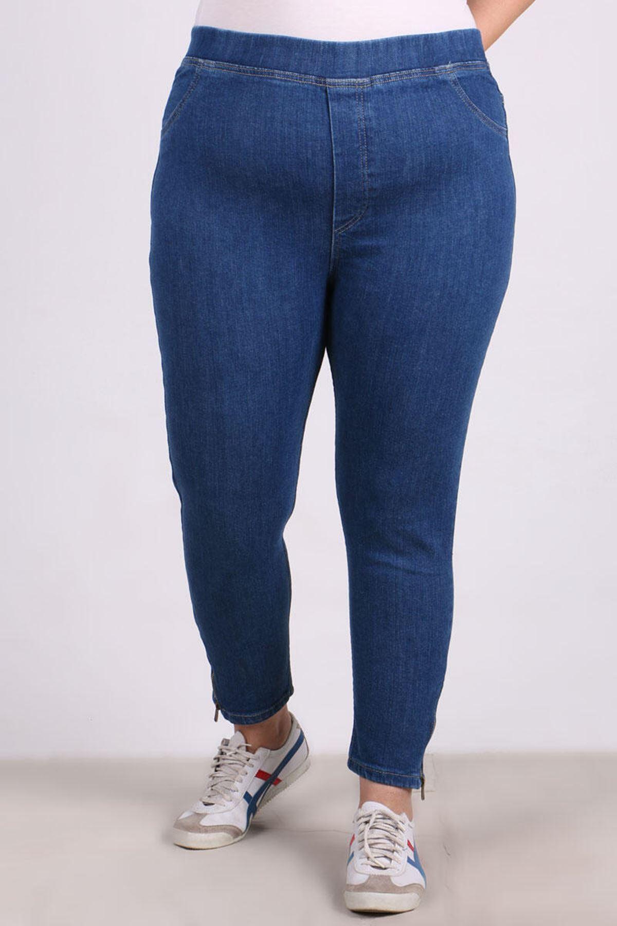 9121 Büyük Beden Fermuar Detaylı Dar Paça Kot Pantalon-Koyu Mavi