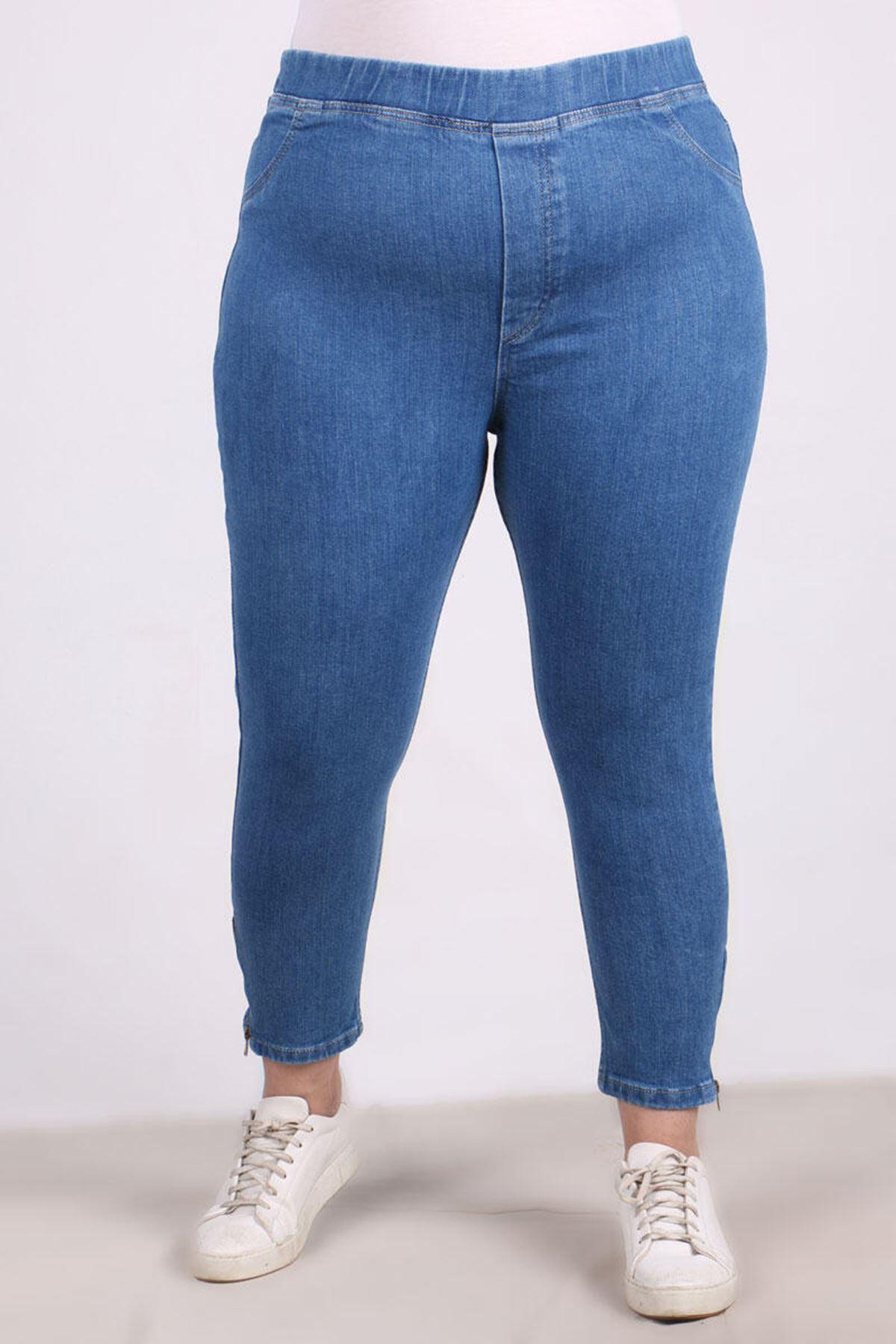 9121 Büyük Beden Fermuar Detaylı Dar Paça Kot Pantalon-Mavi